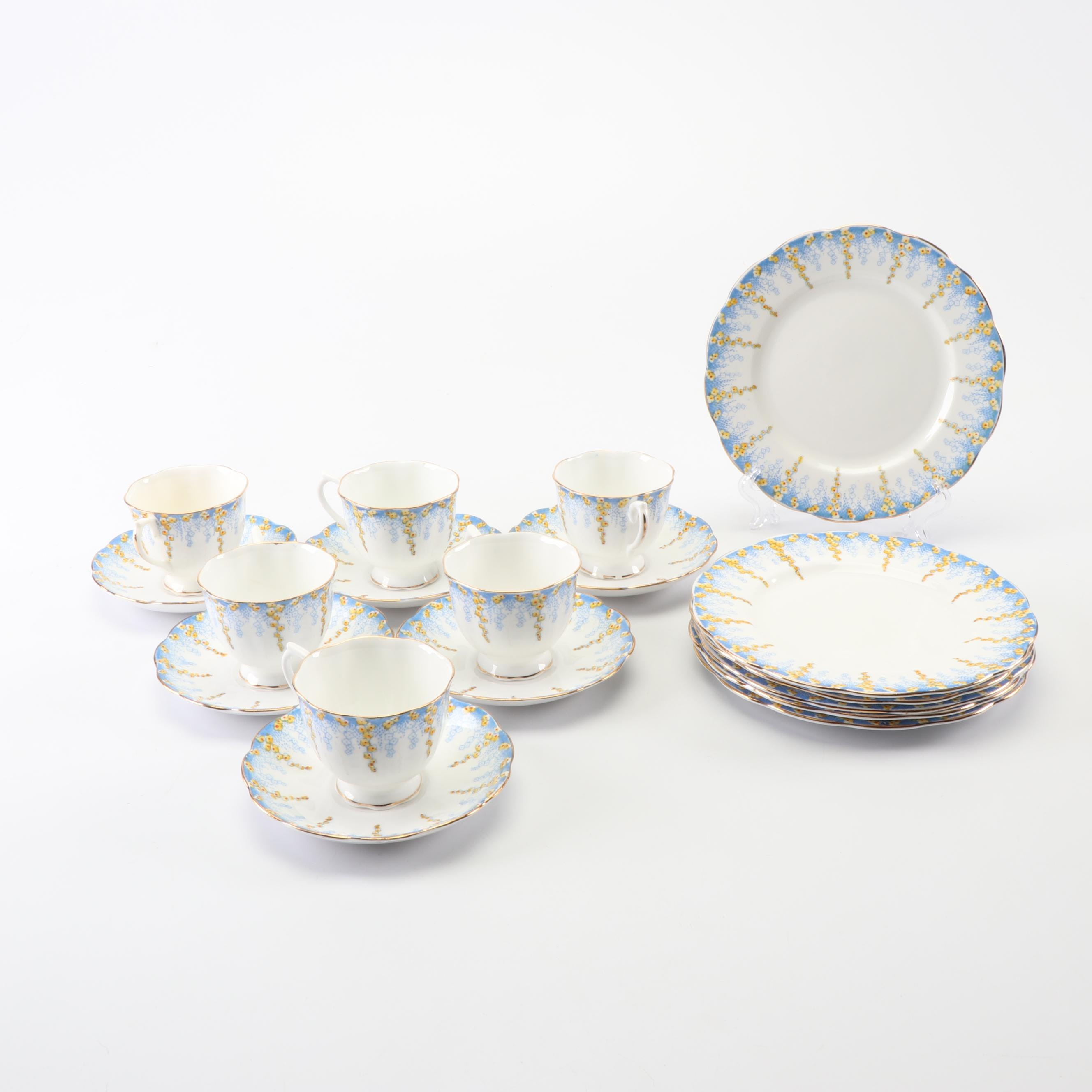 """Royal Albert """"April Showers"""" Cups, Saucers, and Dessert Plates"""