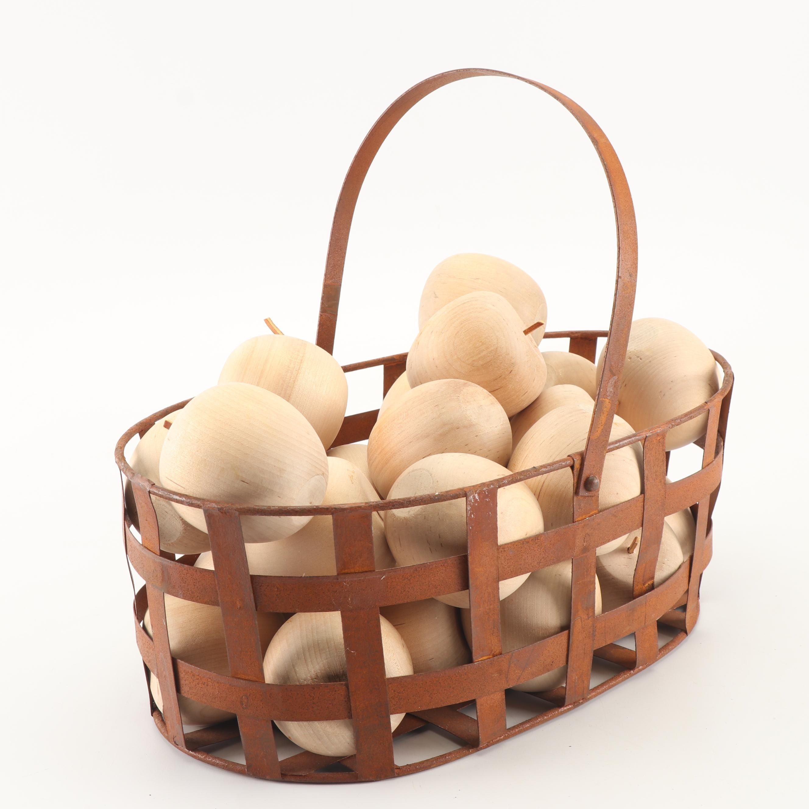 Metal Basket with Carved Natural Wood Apples