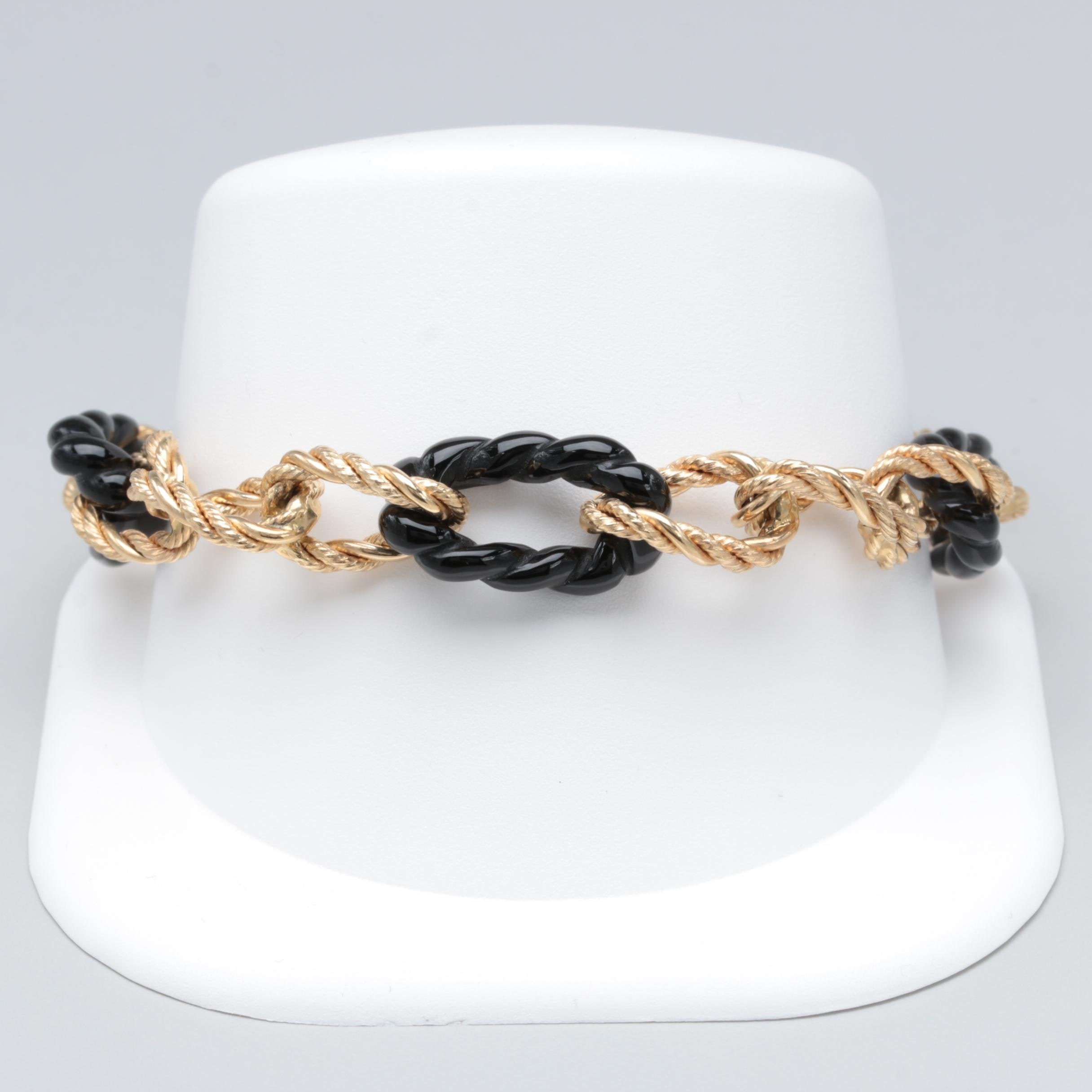 Milor Italian 14K Yellow Gold Black Onyx Rope Curb Link Bracelet
