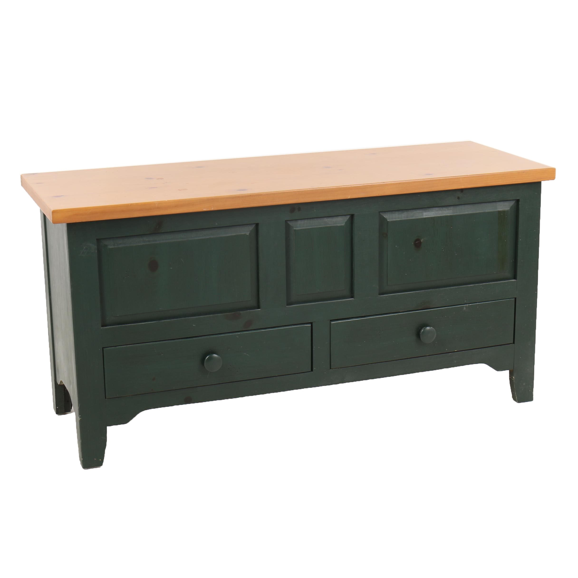 Green Painted Pine Storage Chest, 21st Century