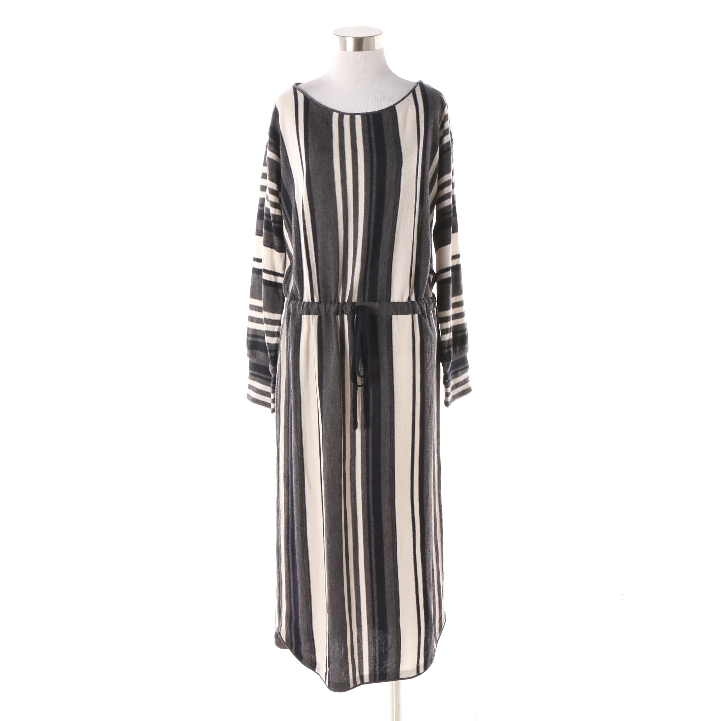Jucca Grey Fleece Wool Drawstring Maxi Dress