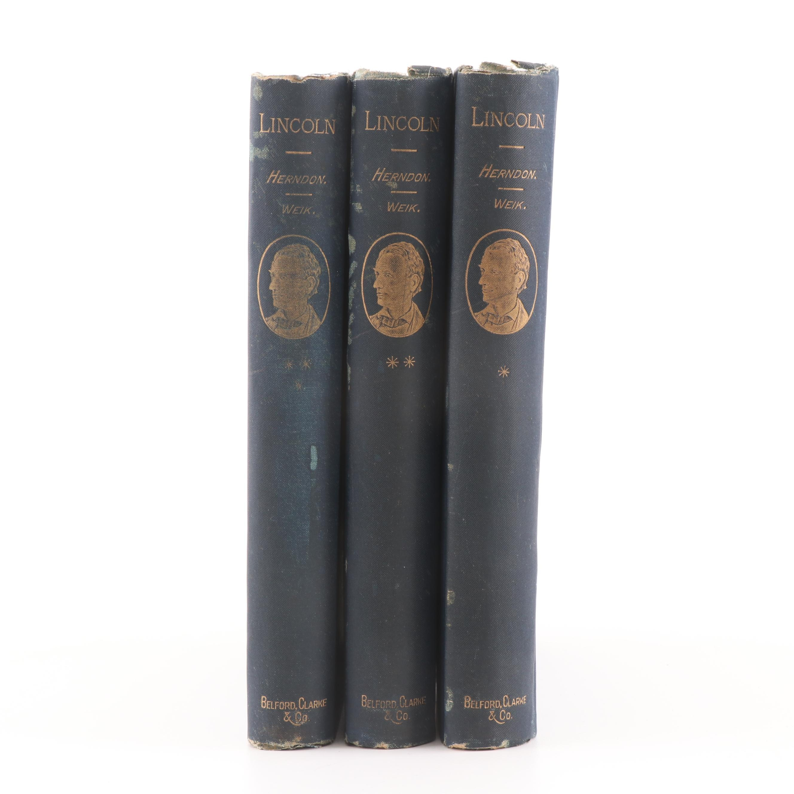 "1889 ""Herndon's Lincoln"" Biography in Three Volumes"