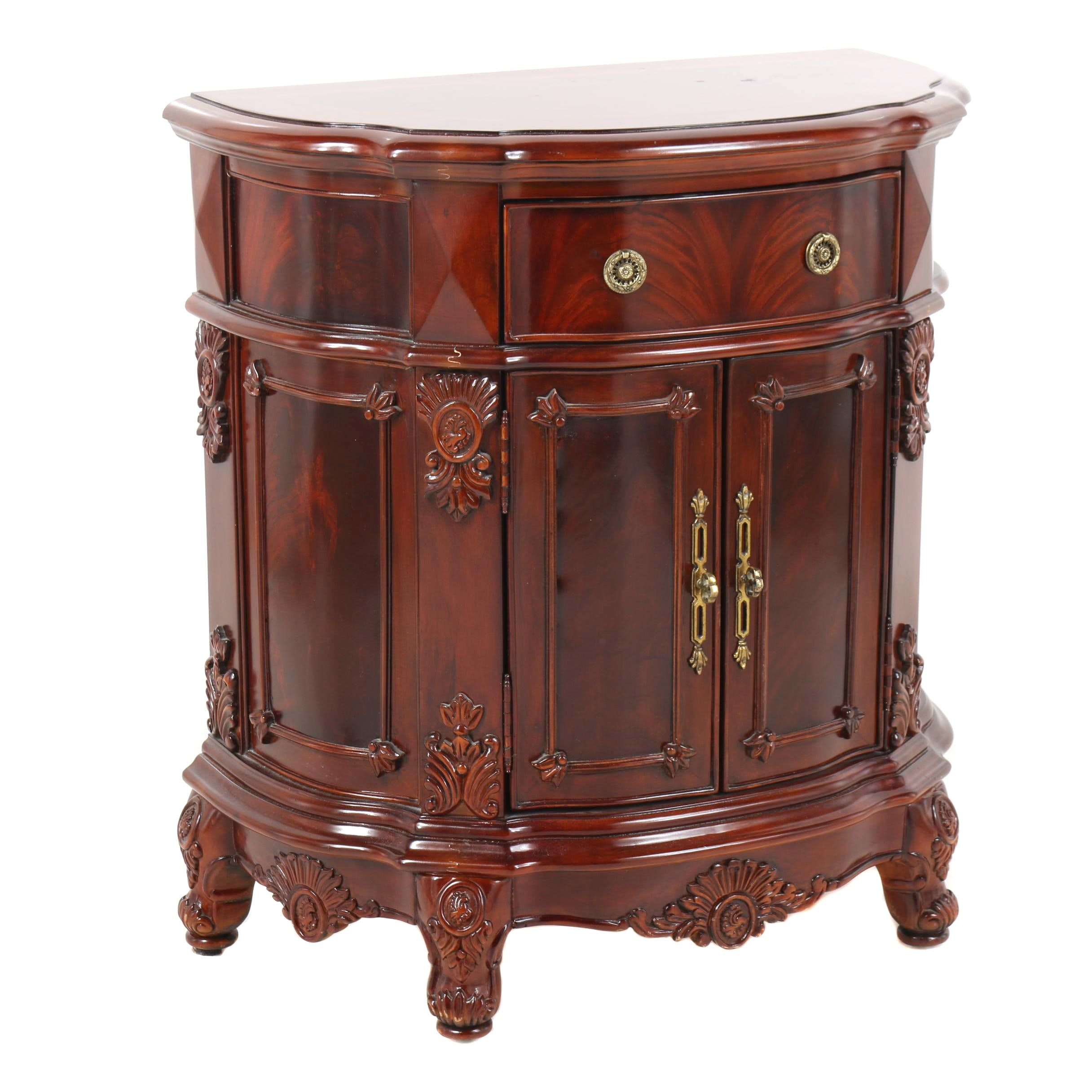French Provincial Style Burl Wood Demilune Nightstand by Regency House, 21st C.