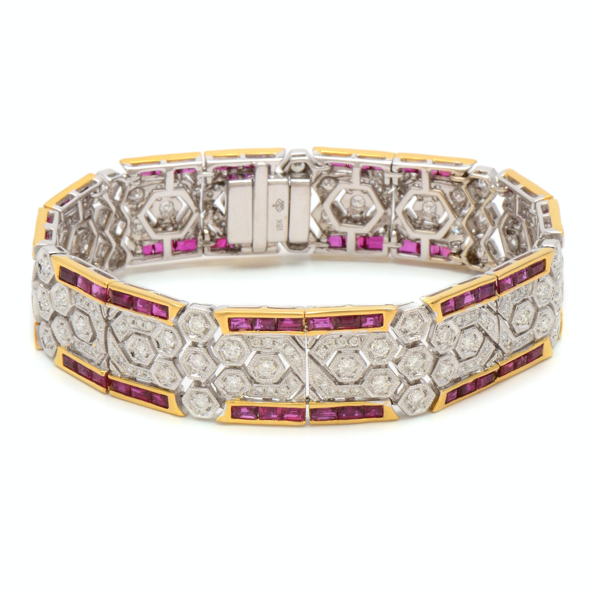 18K White Gold 3.40 CTW Diamond and Ruby Bracelet