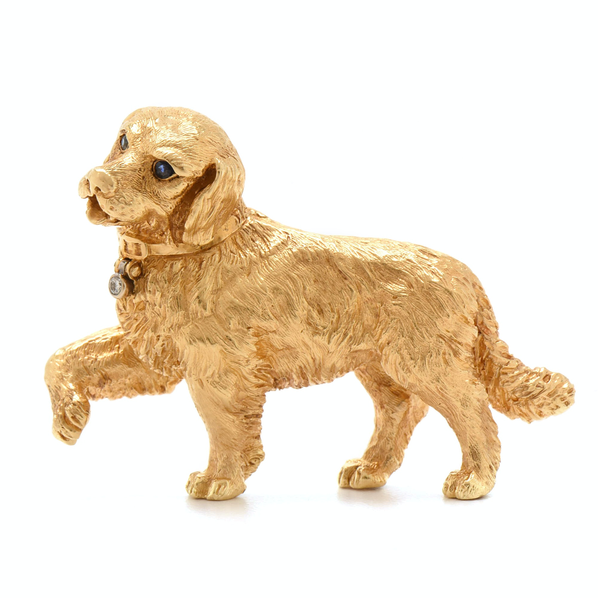 Tiffany & Co. 18K Yellow Gold Blue Sapphire and Diamond Retriever Dog Brooch