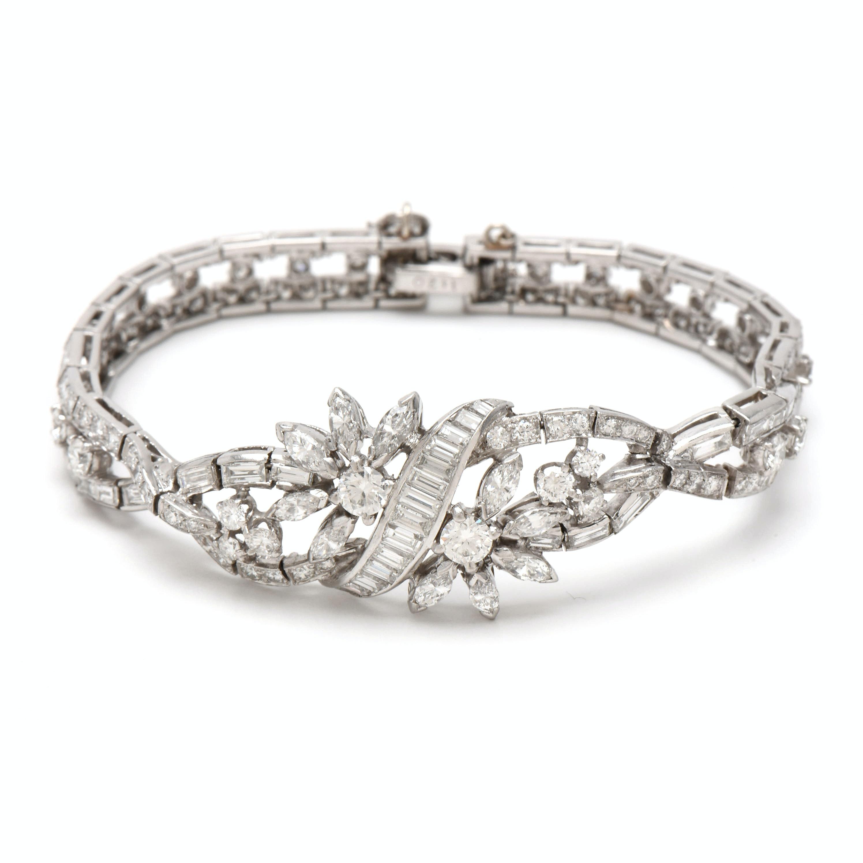 Platinum 8.49 CTW Diamond Bracelet with 14K White Gold Safety Chain