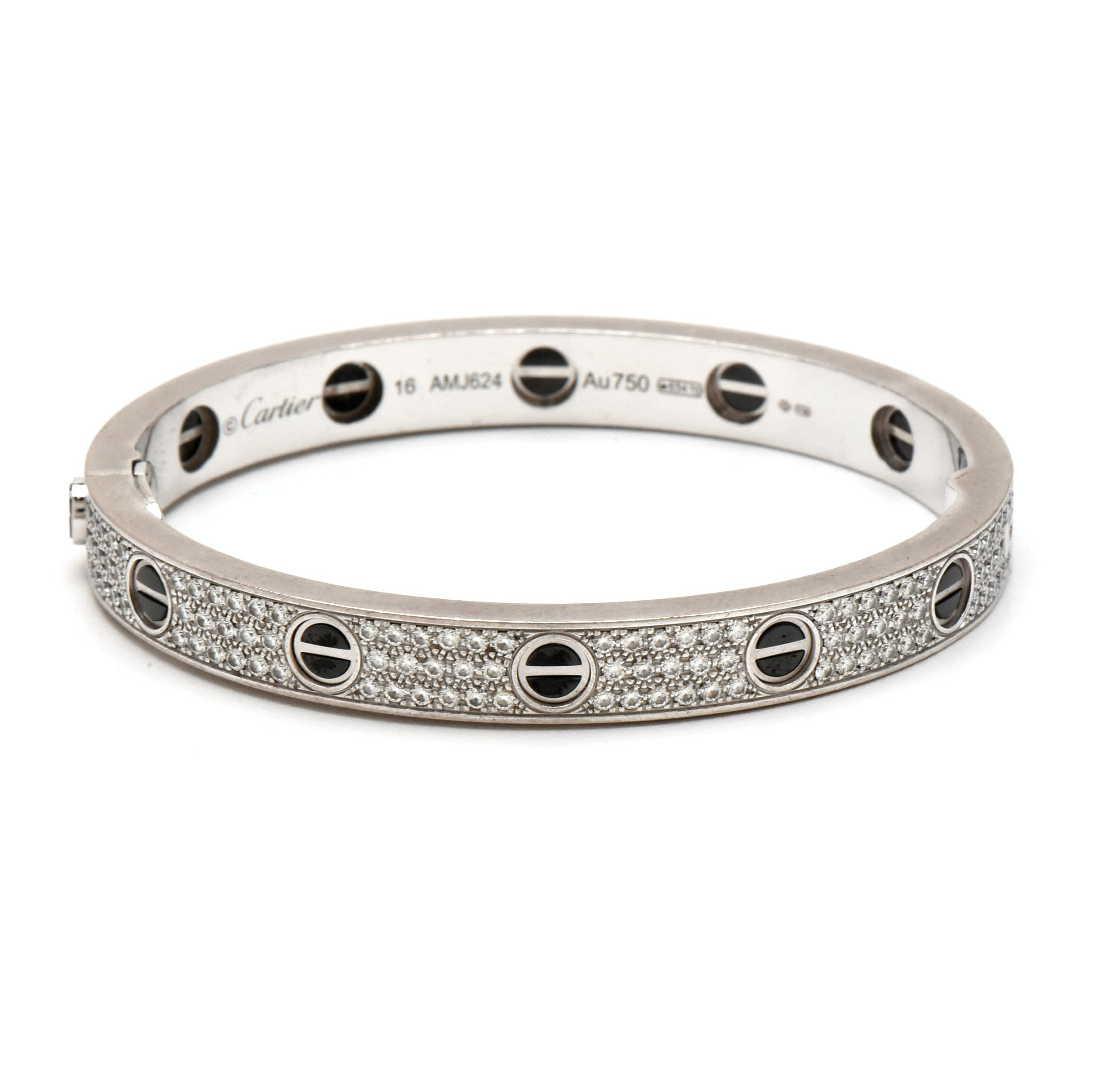 "Cartier ""Love"" 18K White Gold 3.05 CTW Diamond and Ceramic Bracelet"