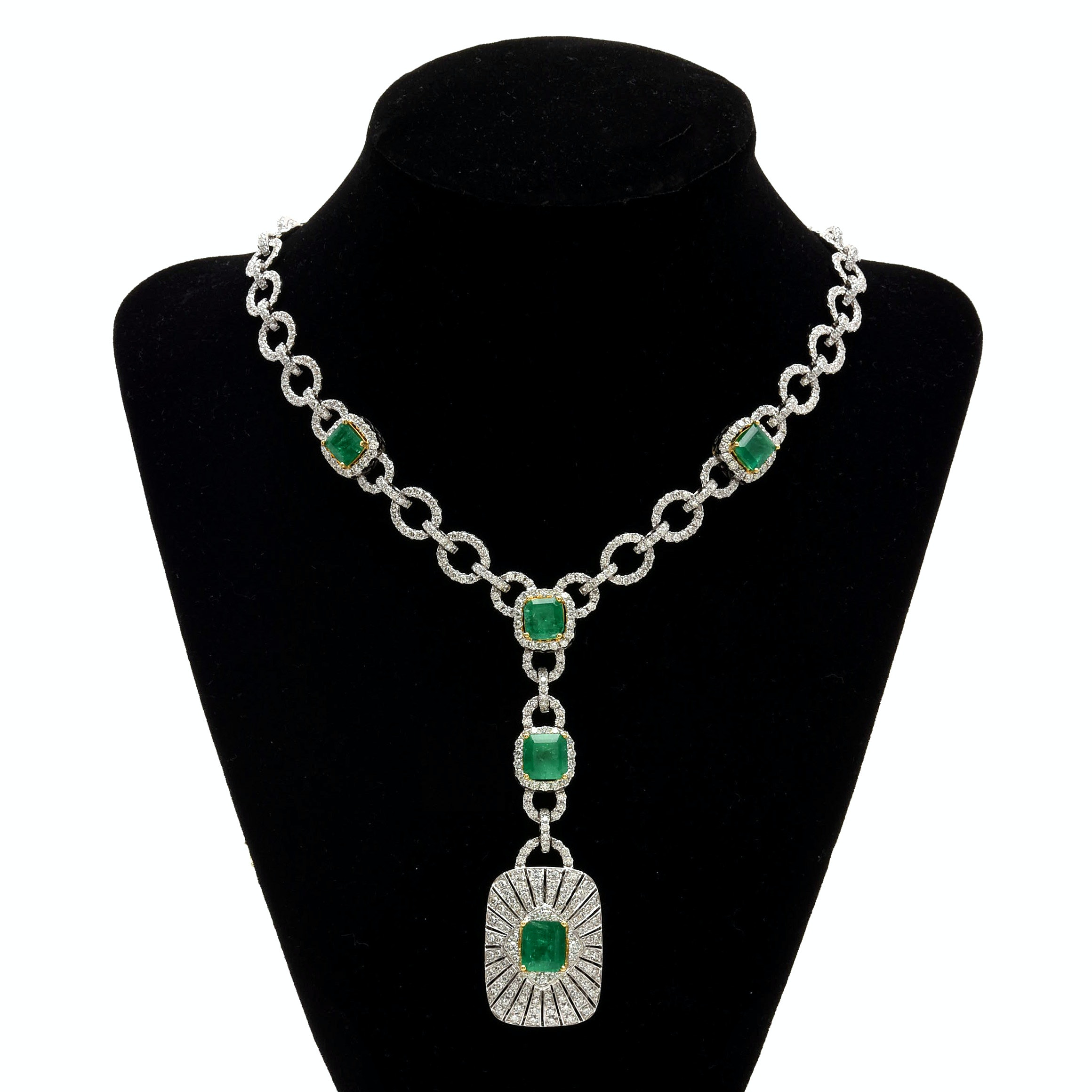 18K White Gold 10.46 CTW Emerald and 15.08 CTW Diamond Necklace