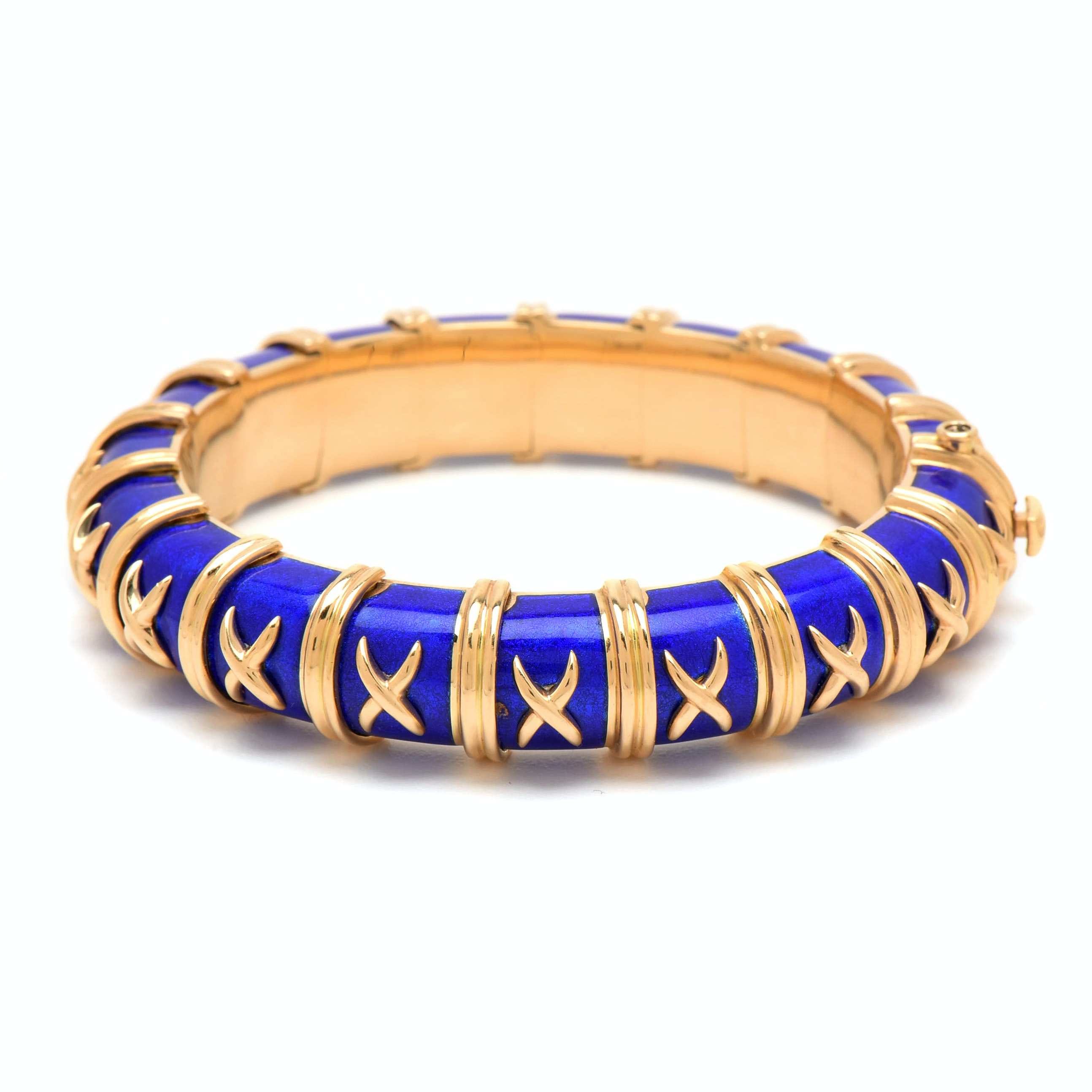 "Schlumberger for Tiffany & Co. ""Croisillon"" 18K Yellow Gold and Enamel Bracelet"