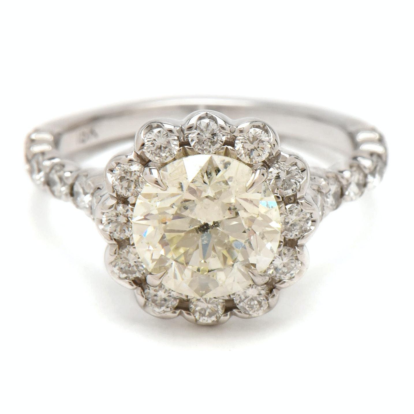18K White Gold 2.22 CTW Diamond Ring