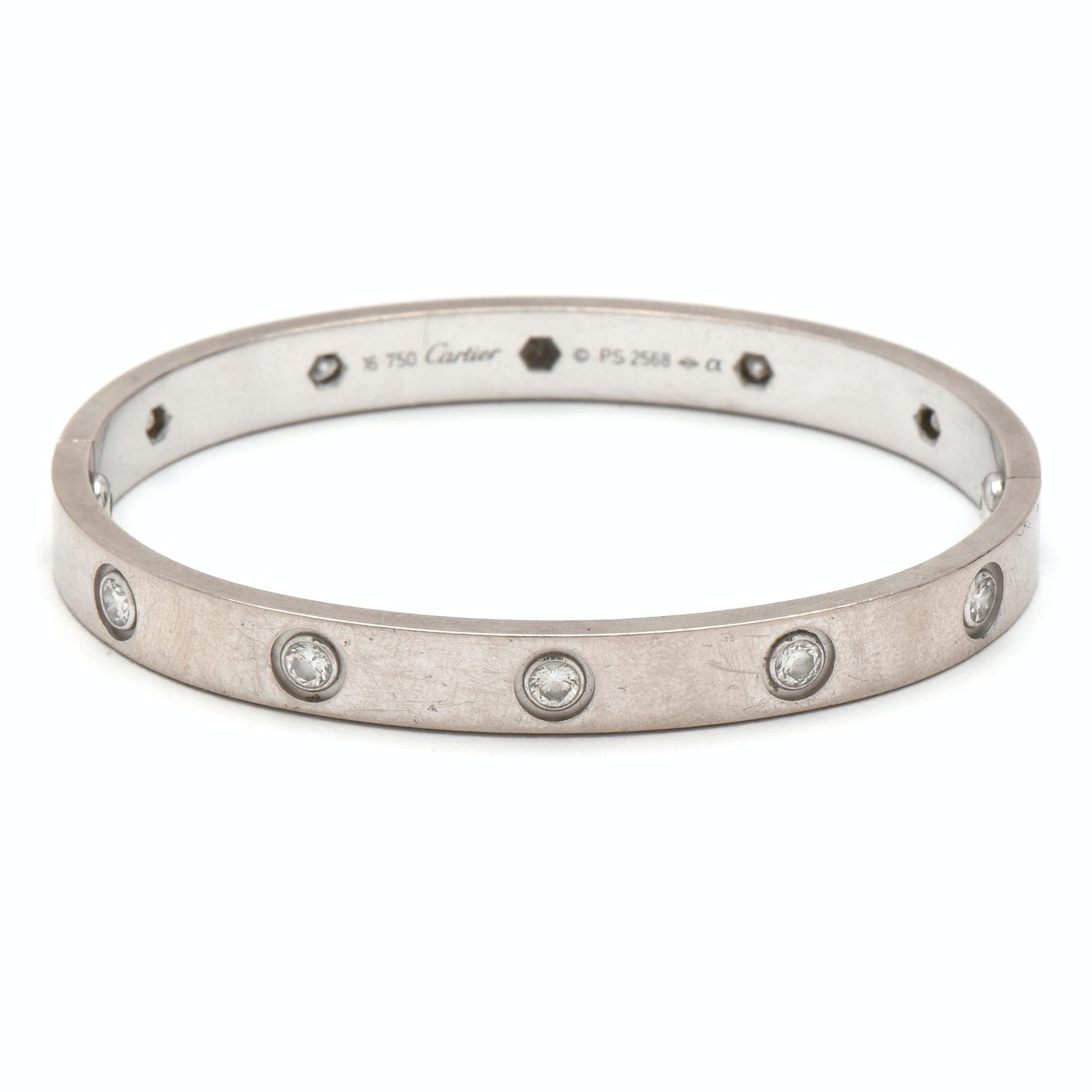 """Cartier """"Love"""" 18K White Gold Ten Diamond Bracelet"""