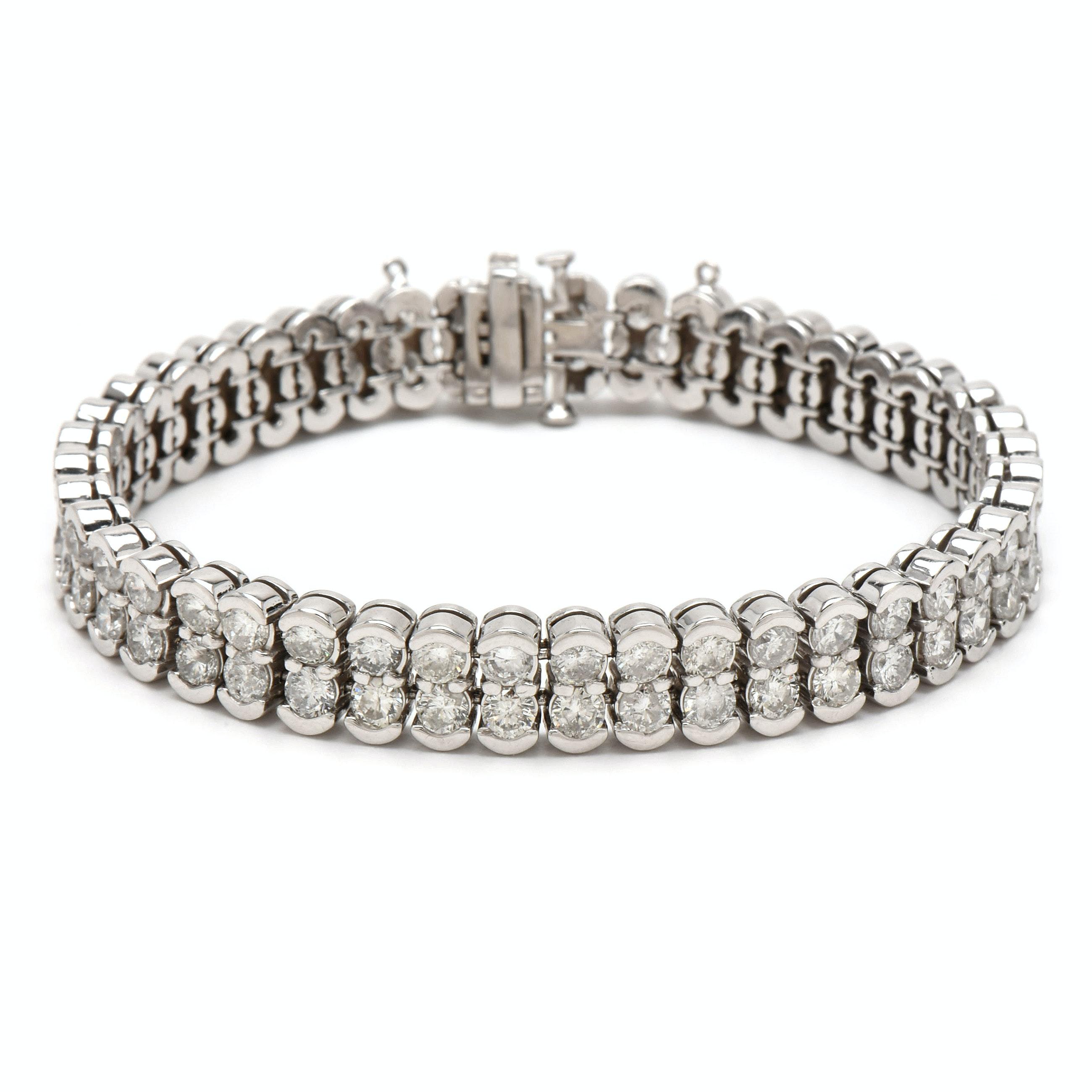 14K White Gold 14.08 CTW Diamond Double Row Tennis Bracelet