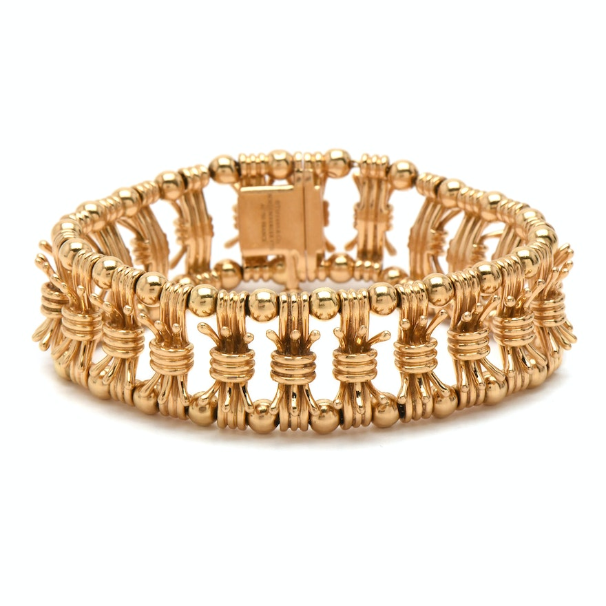 Schulmberger For Tiffany Co Bow Tie 18k Yellow Gold Bracelet