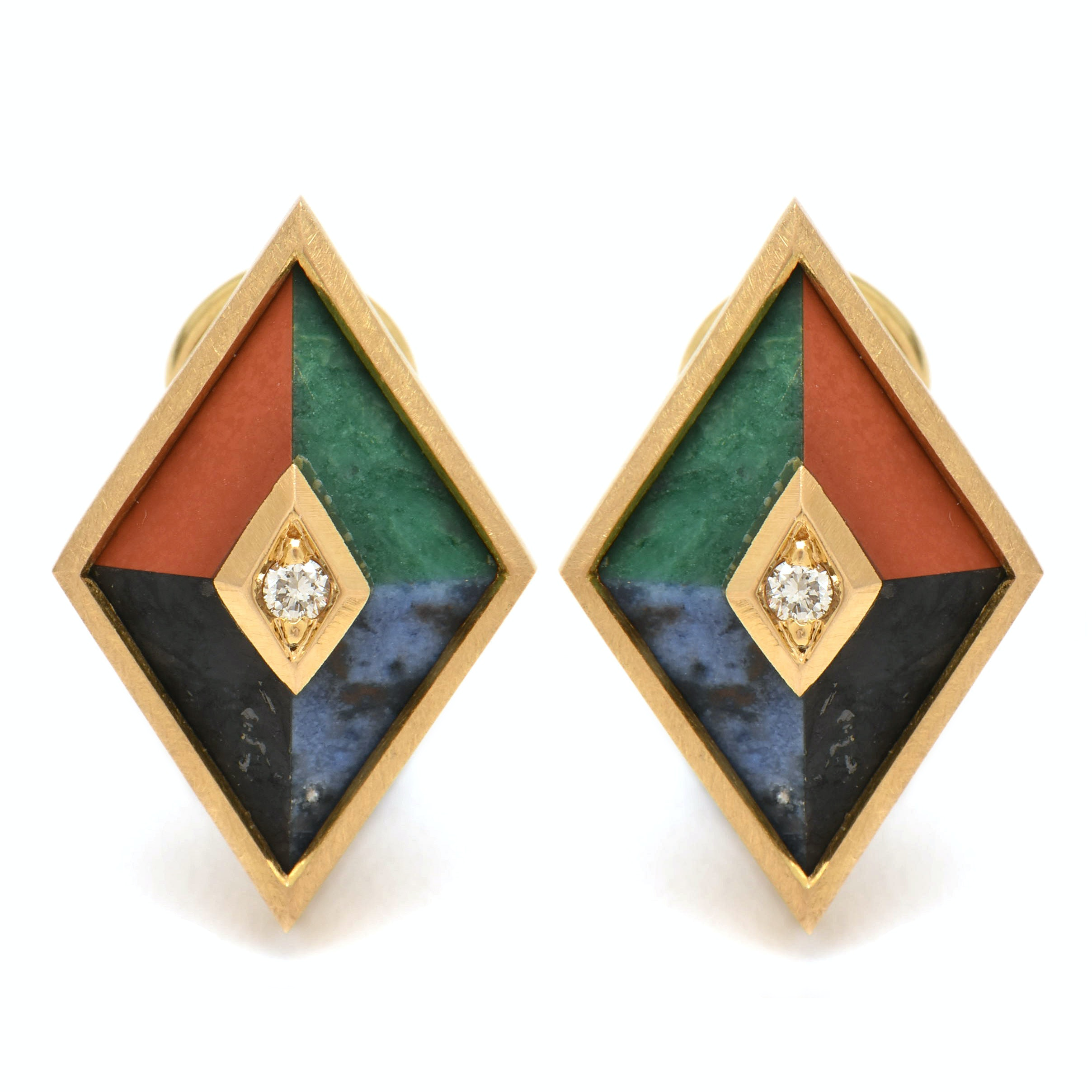 18K Yellow Gold Diamond, Sodalite, Malachite, Jasper, and Feldspar Earrings