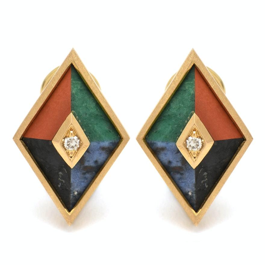 eea410957 18K Yellow Gold Diamond, Sodalite, Malachite, Jasper, and Feldspar Earrings  ...
