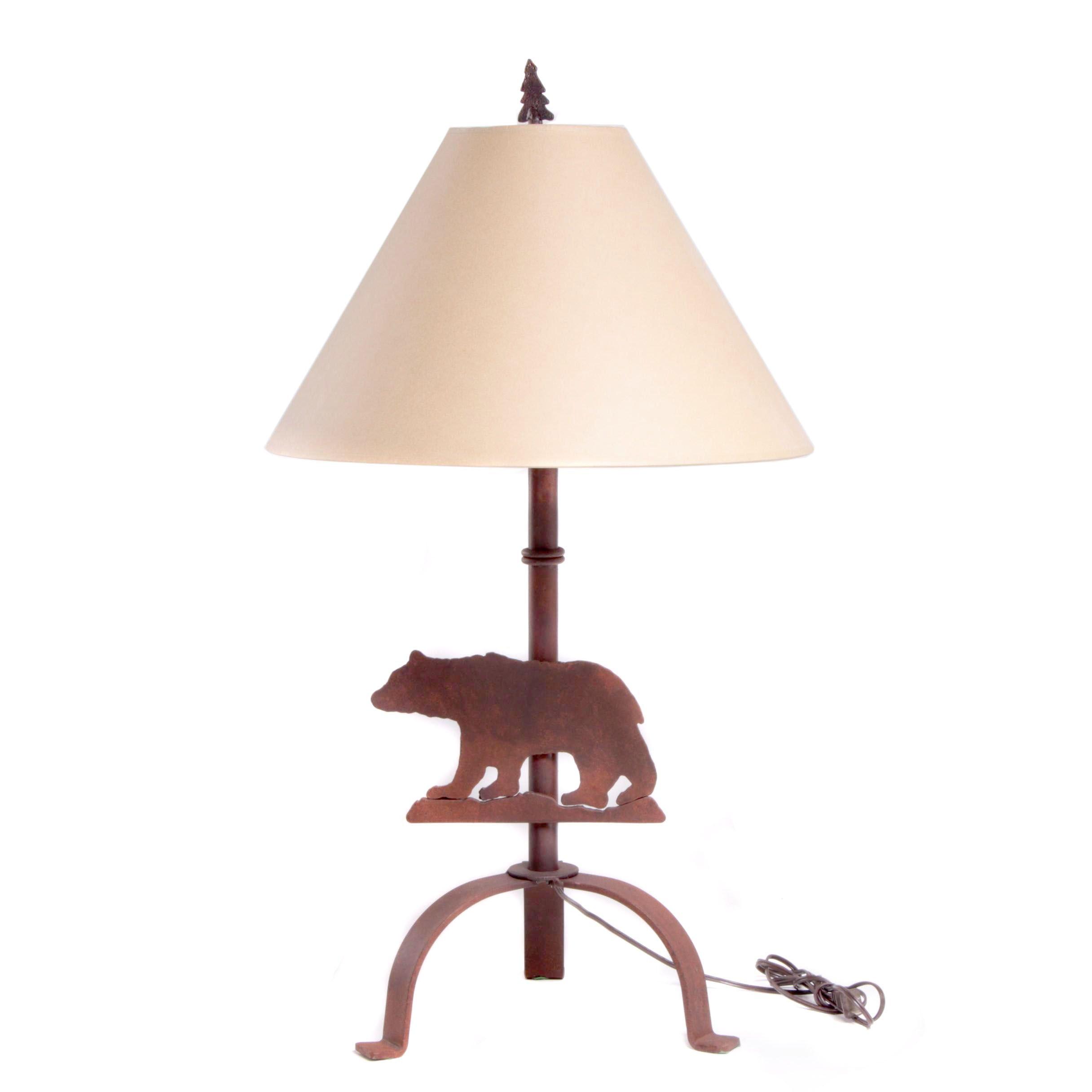 Rusticated Iron Bear Table Lamp
