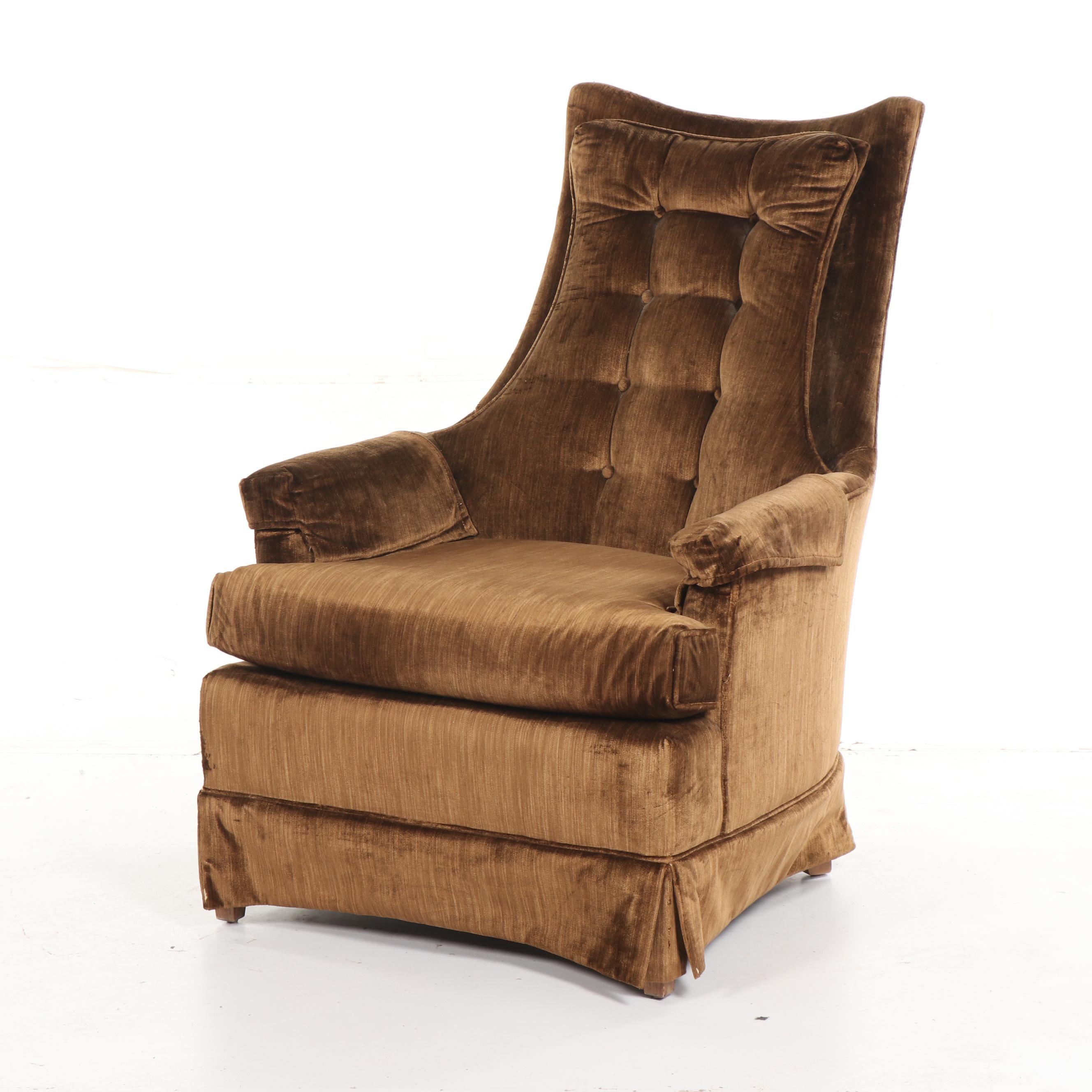 Mid Century Modern Tufted Velvet Upholstered High Back Armchair, 20th Century