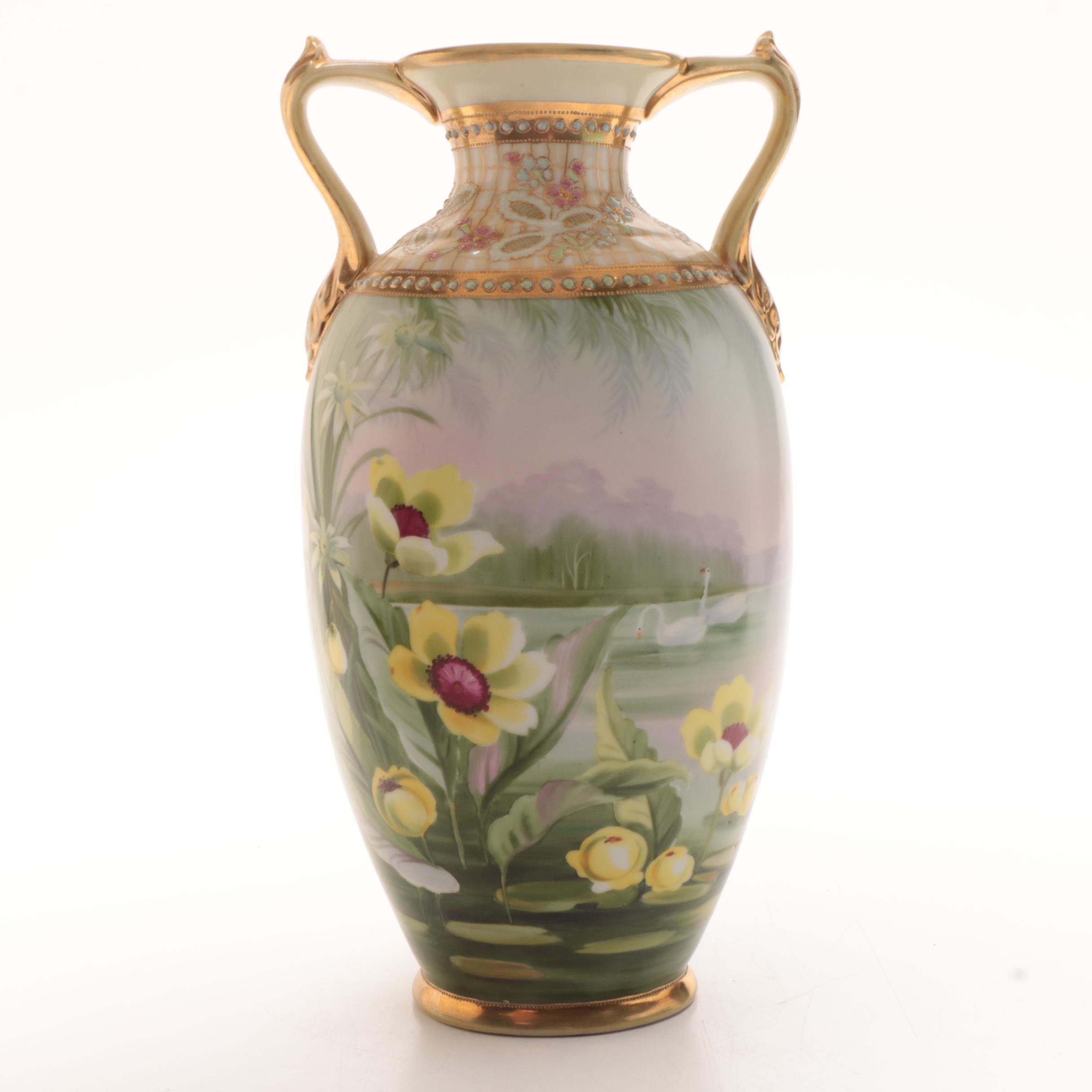 Large Morimura Brothers Nippon Hand Painted Porcelain Vase