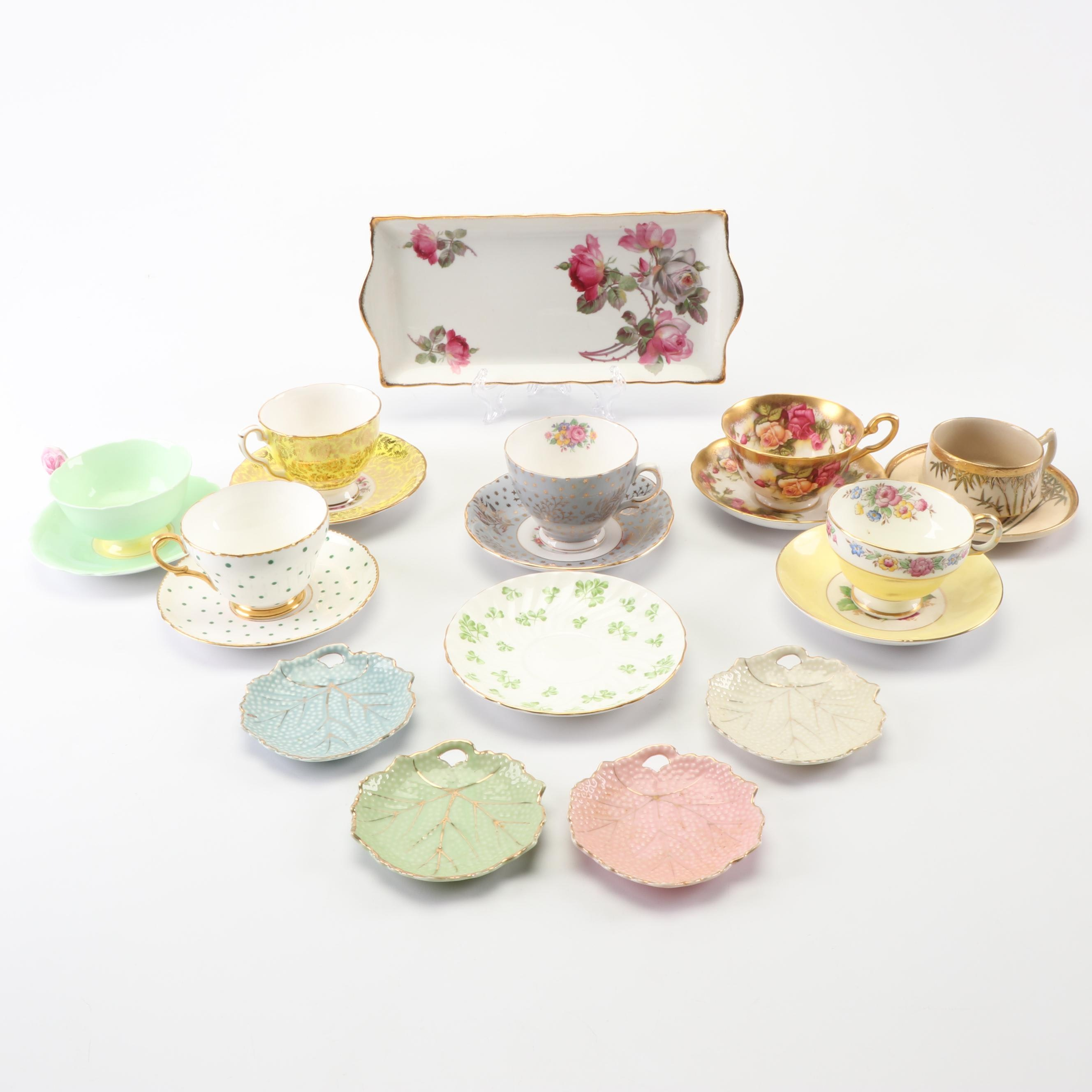 Hand-Painted China Tea Cup and Saucers including Royal Stafford, Late 20th C.