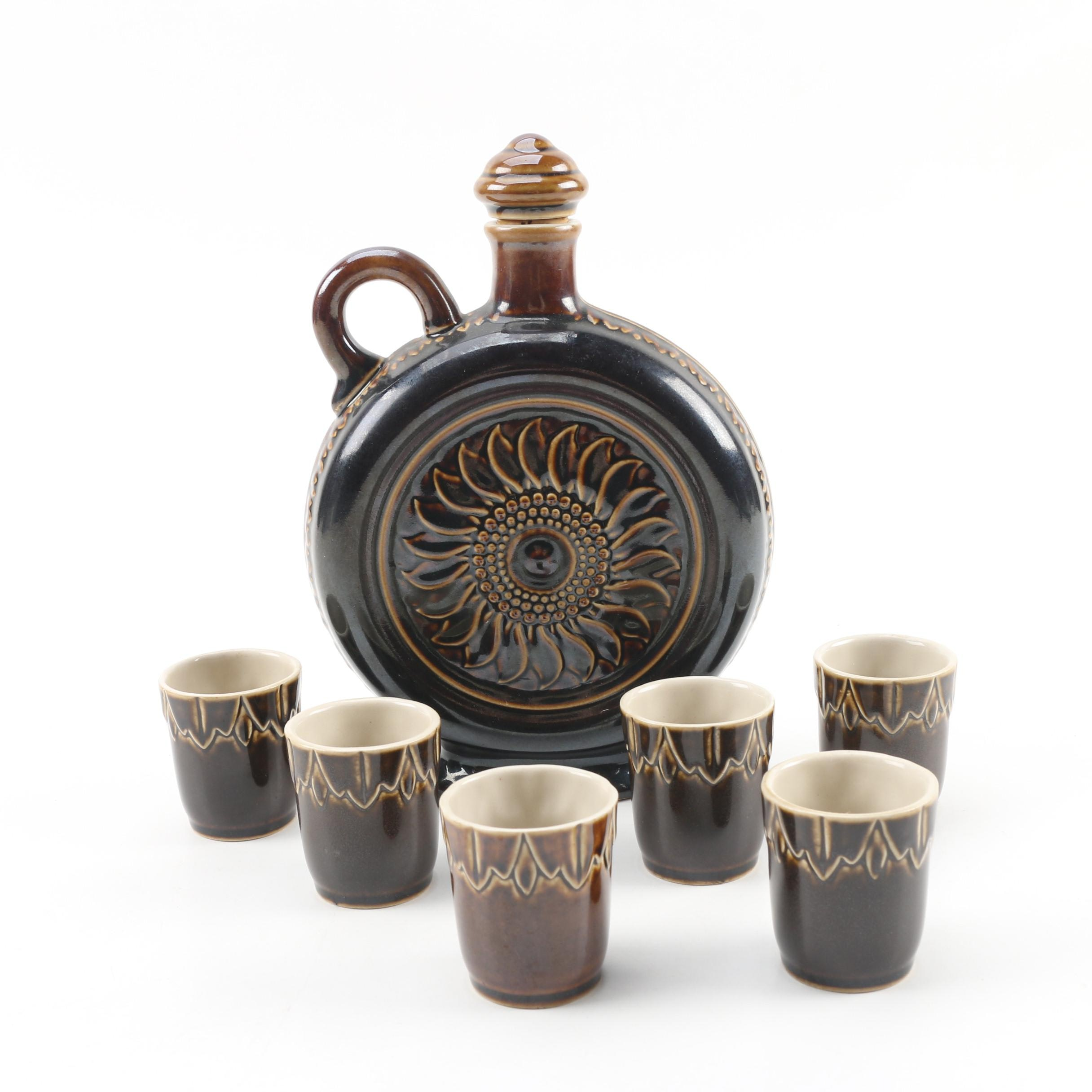 Ceramarte of Brazil Canteen Style Decanter with Cups