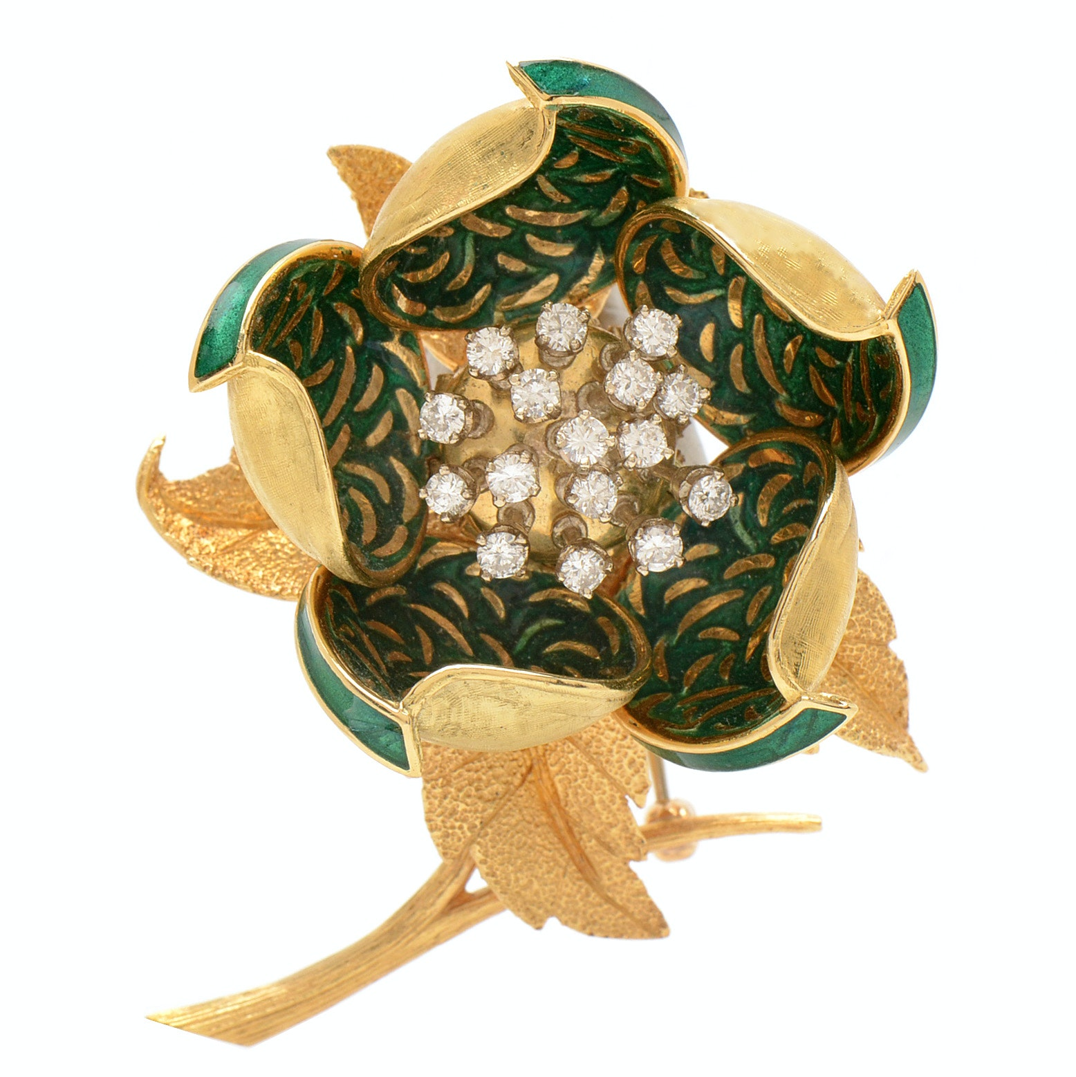 Hammerman Brothers 18K Yellow Gold Diamond and Enamel Articulated Flower Brooch