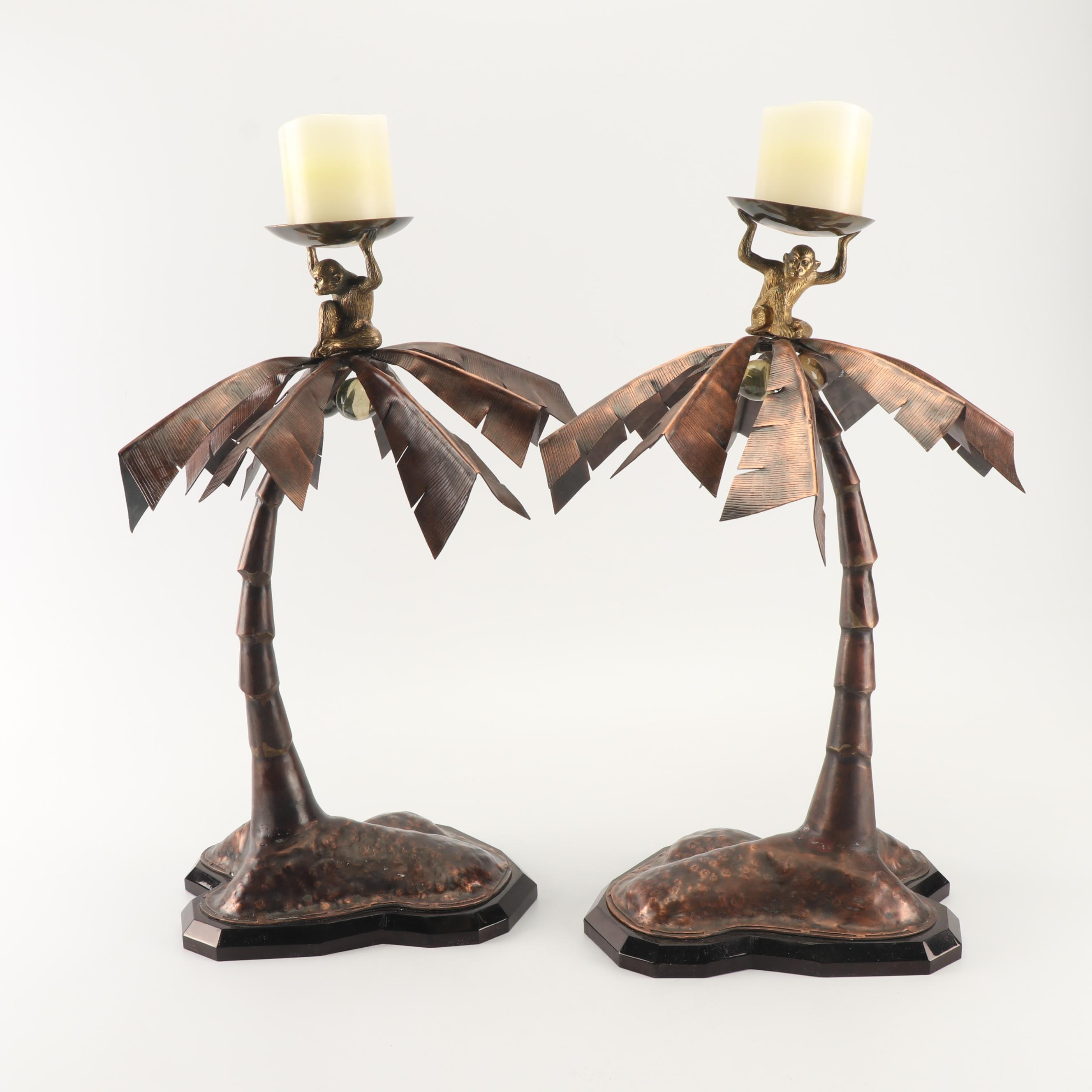 Metal Palm Tree and Monkey Candle Holders