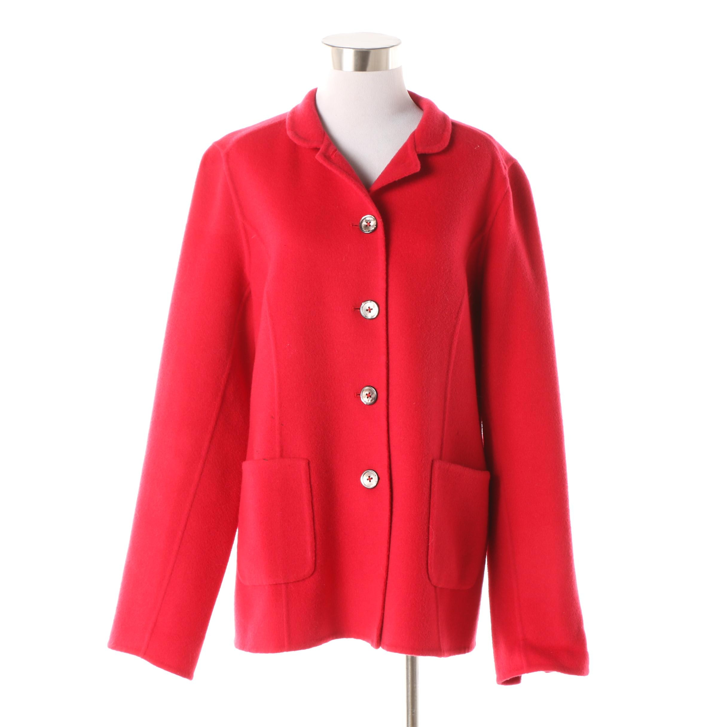 Women's Nina McLemore Red Wool Button-Front Jacket