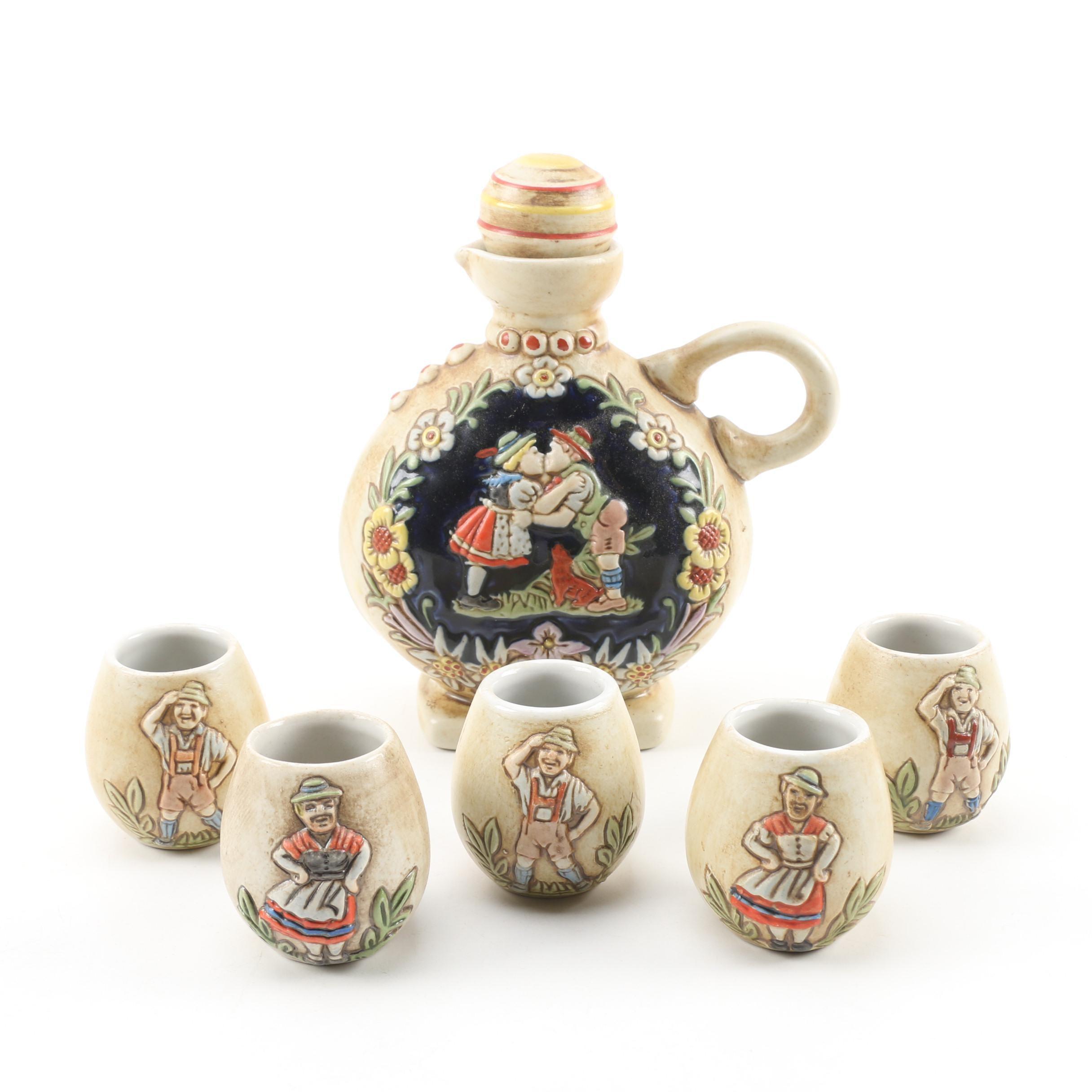 Embossed Ceramarte Decanter and Cups