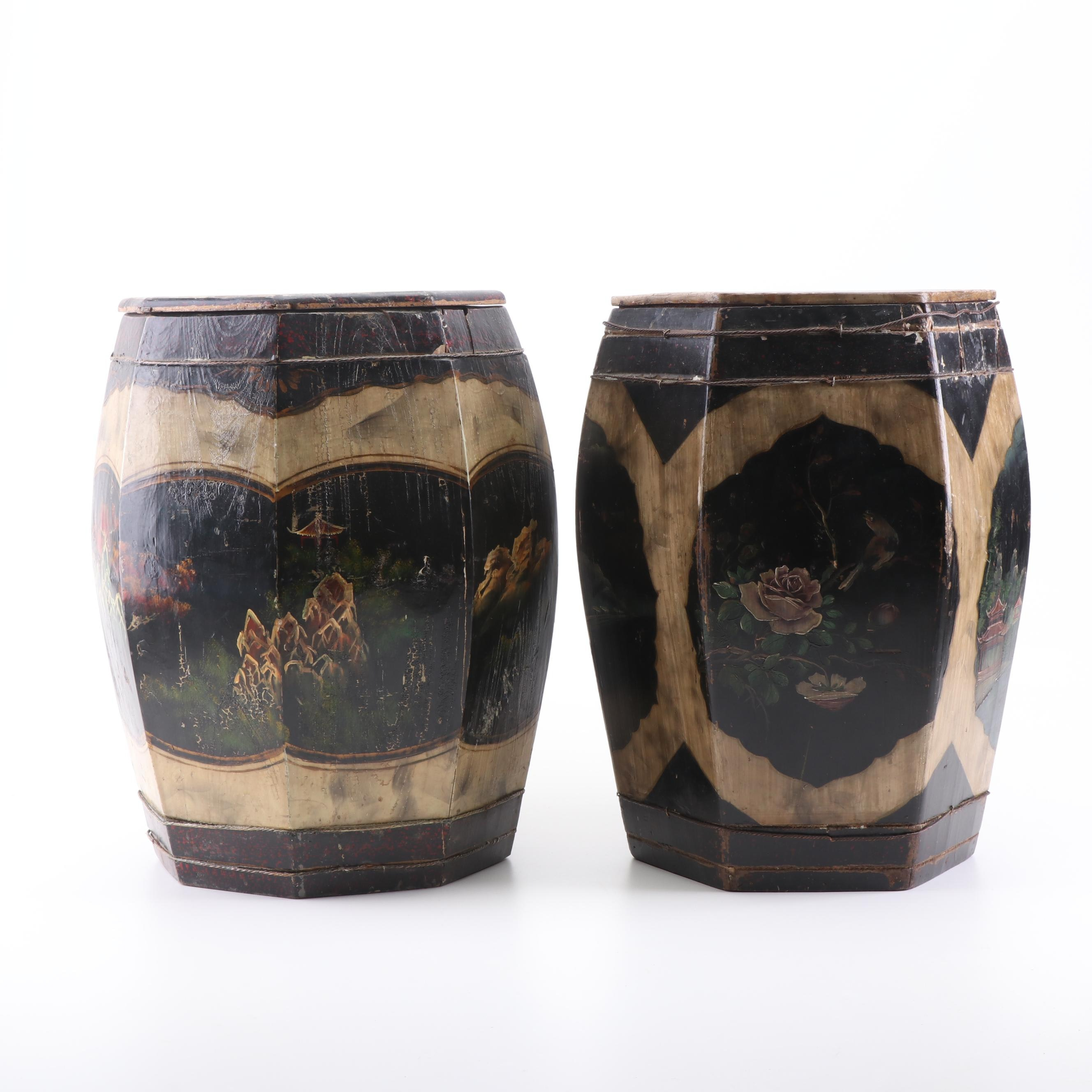 Chinese Hand-Painted Cypress Rice Buckets