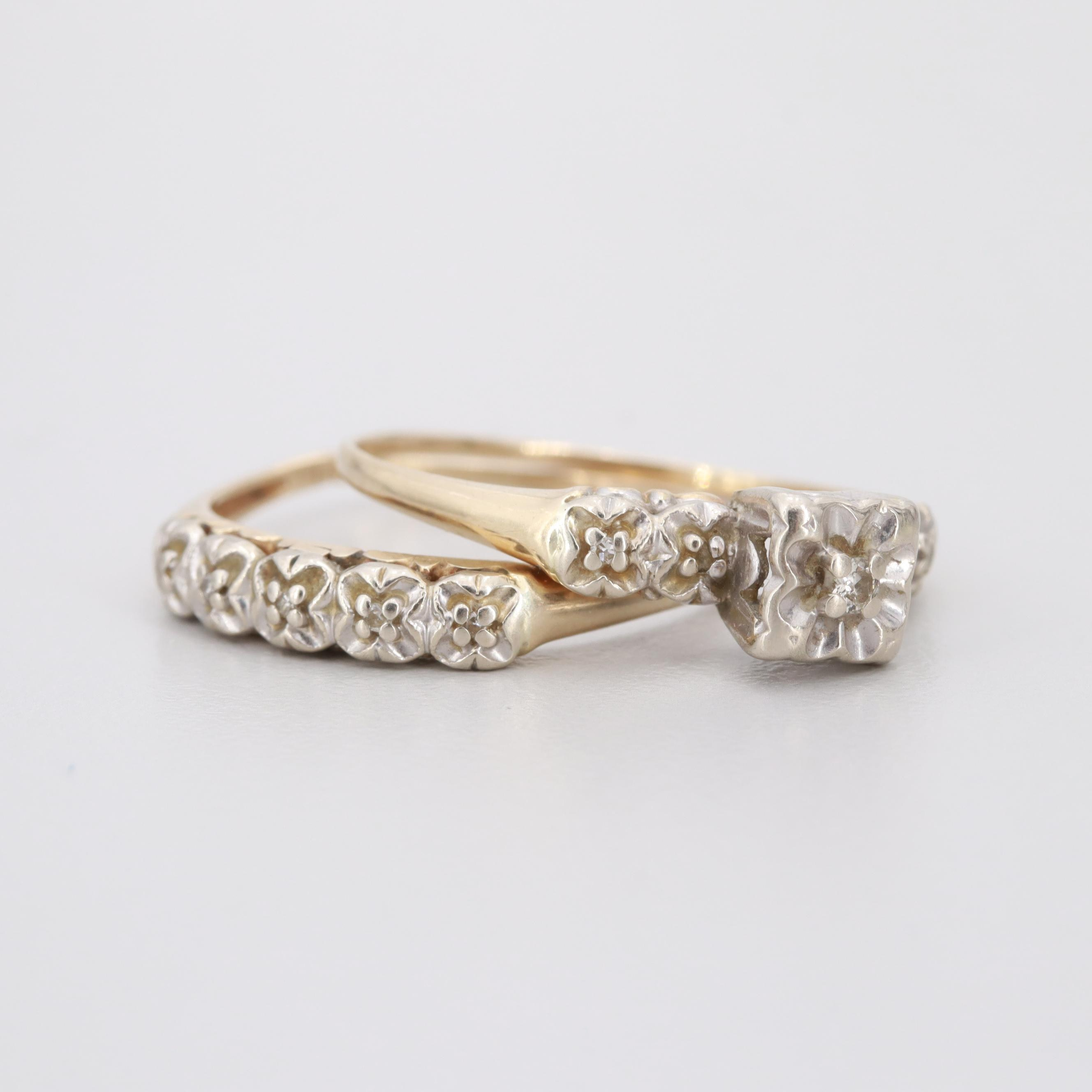 Vintage 14K Yellow and White Gold Diamond Wedding Ring Set