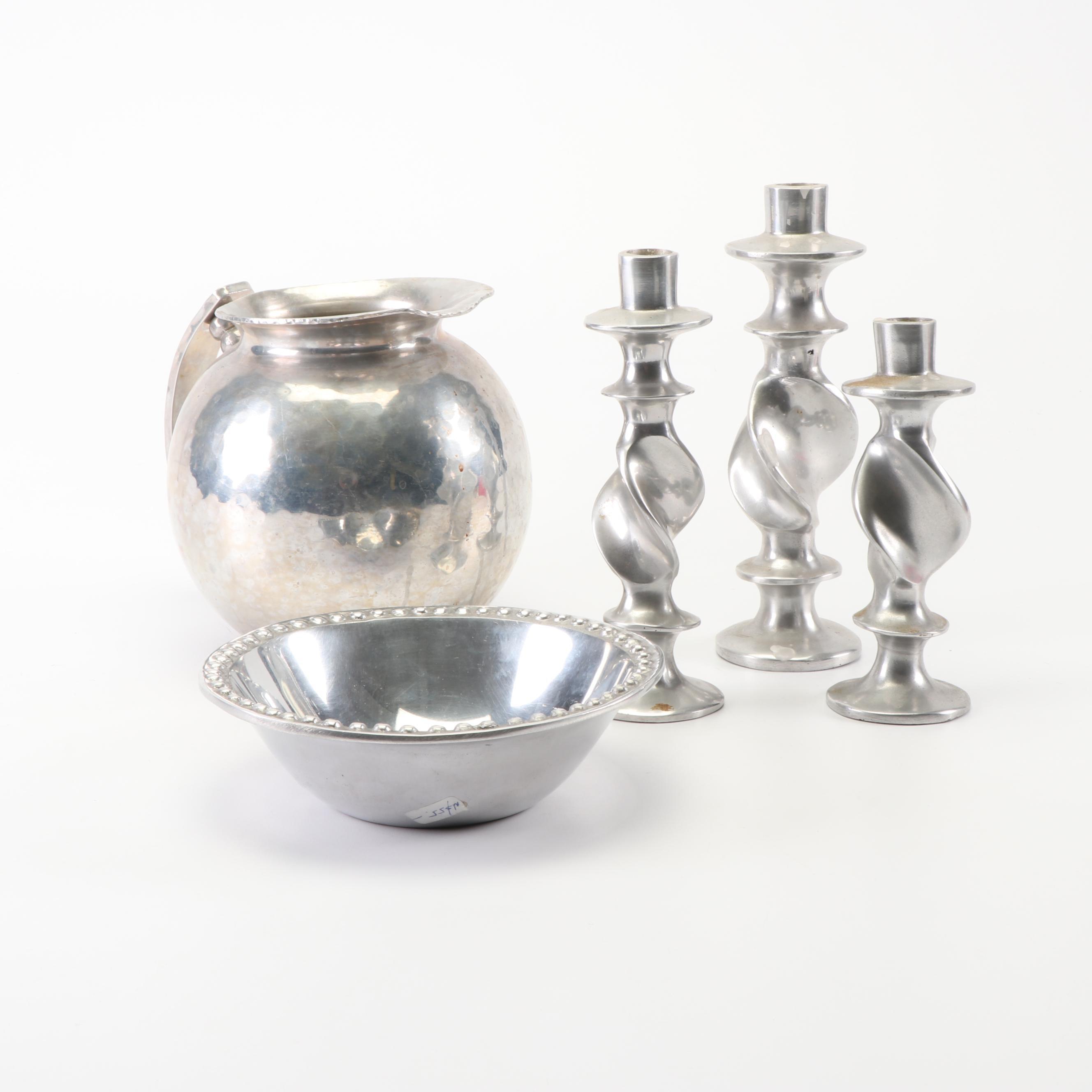 Aluminum Pitcher, Bowl, and Candlesticks featuring Buenilum