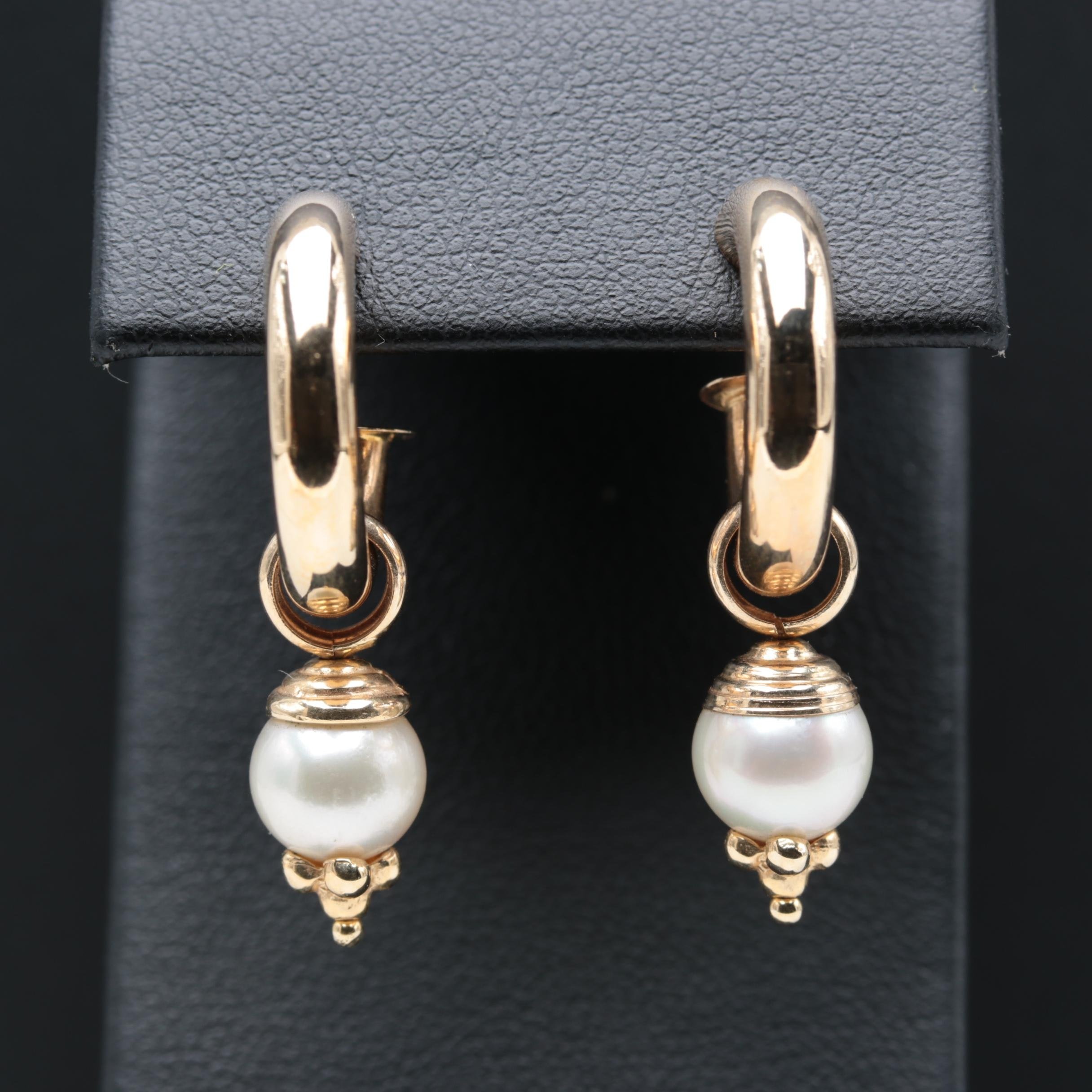 14K Yellow Gold Hoop with Removable Cultured Pearl Charmers