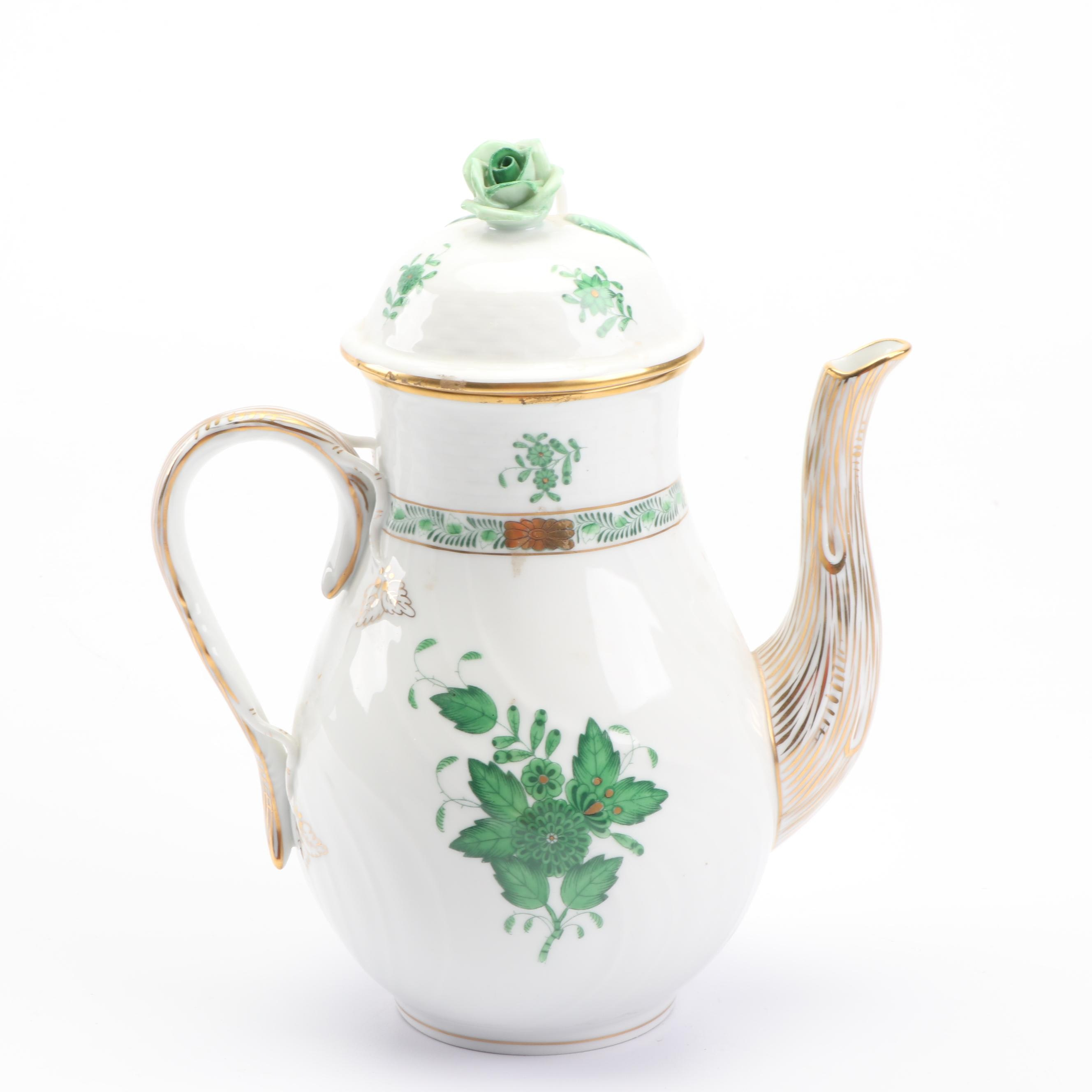 "Herend Hand-Painted ""Chinese Bouquet Green"" Porcelain Coffee Pot"