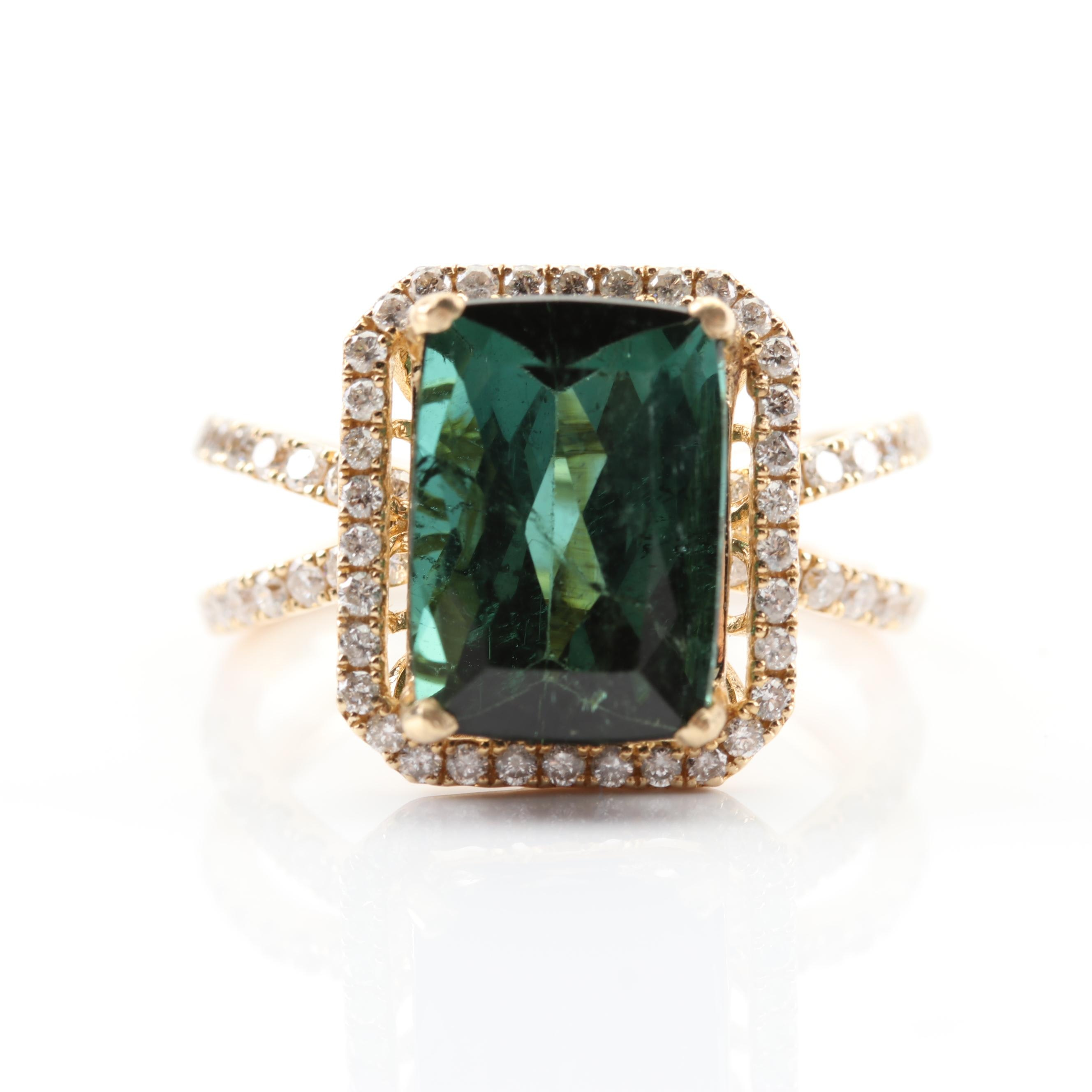14K Yellow Gold 4.23 CT Green Tourmaline and Diamond Halo Ring