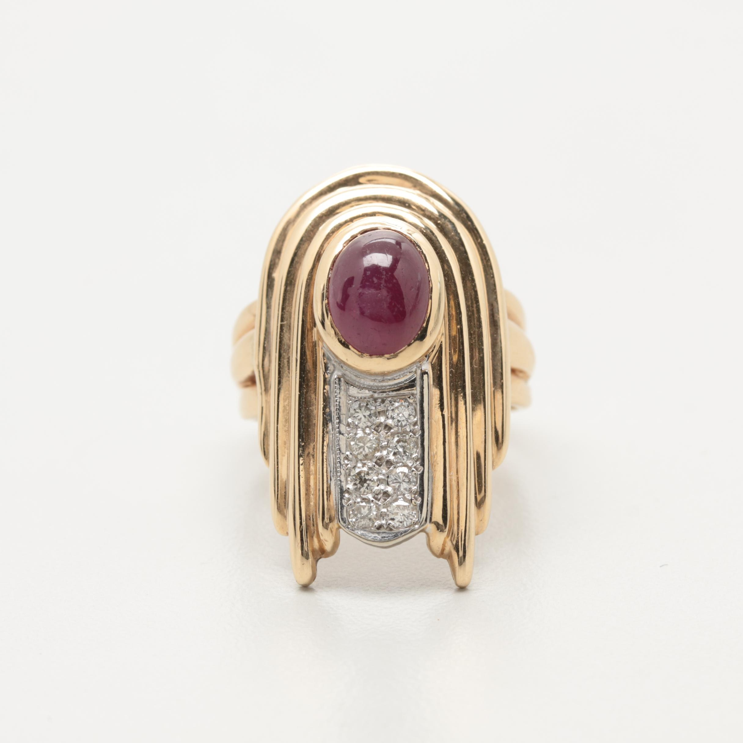 14K Yellow Gold Ruby and Diamond Ring with 14K White Gold Accent