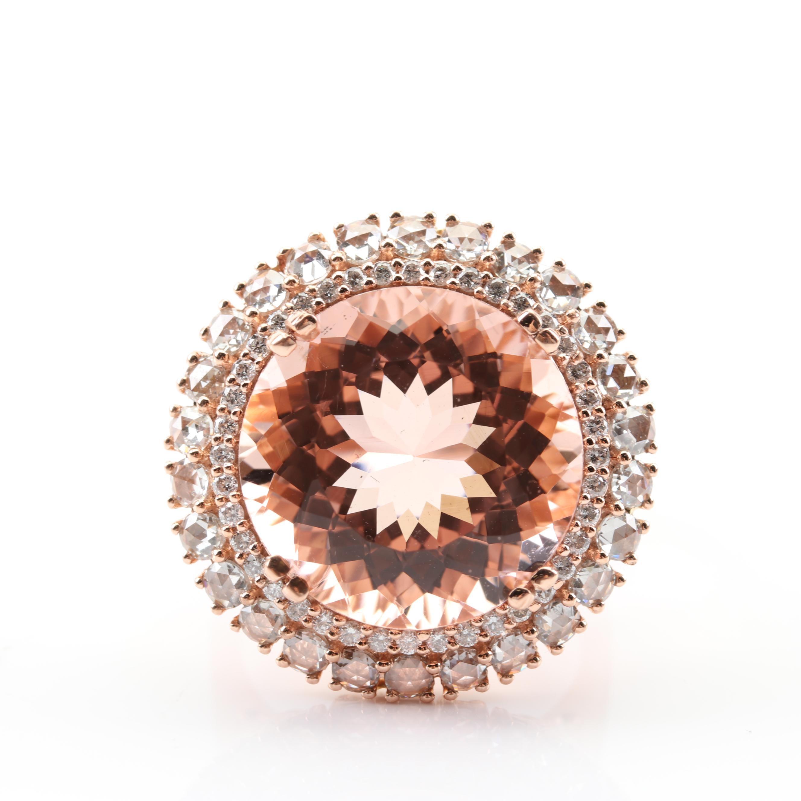 14K Rose Gold 13.63 CT Morganite 1.57 CTW Double Diamond Halo Ring
