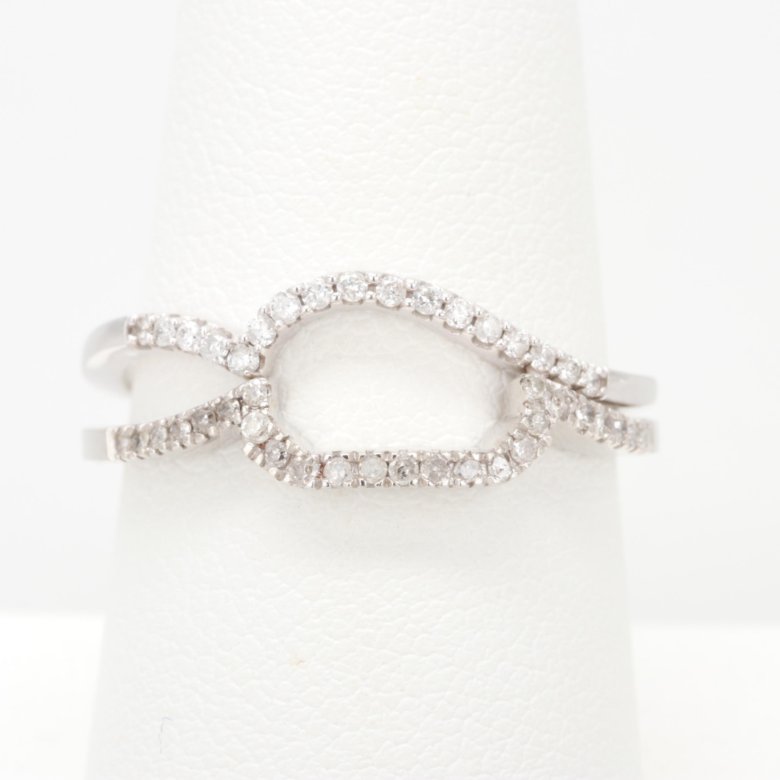 10K White Gold Diamond Shadow Bands
