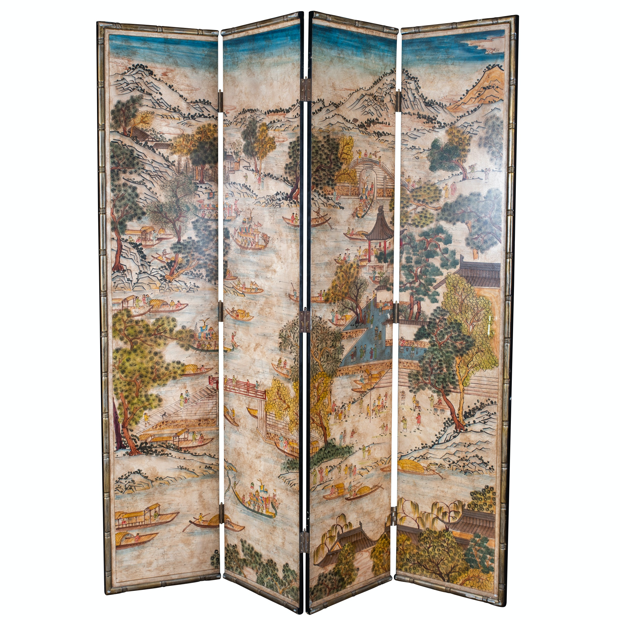 Chinese Stamped Paper Folding Screen, Late 20th Century