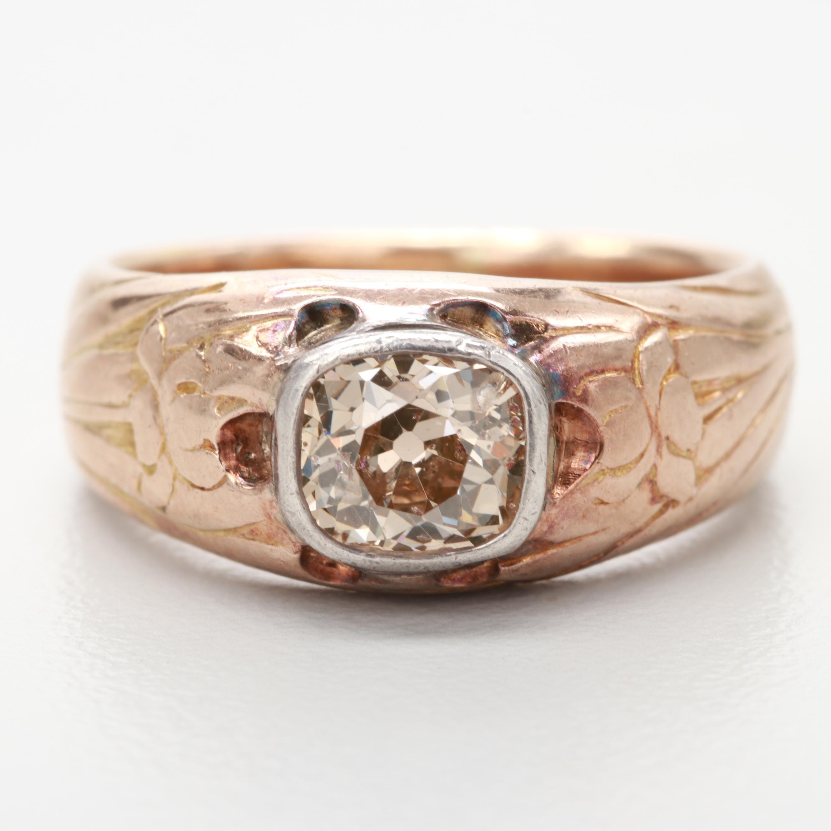 Early 1900s Art Nouveau 14K Rose Gold and Sterling Silver Diamond Ring
