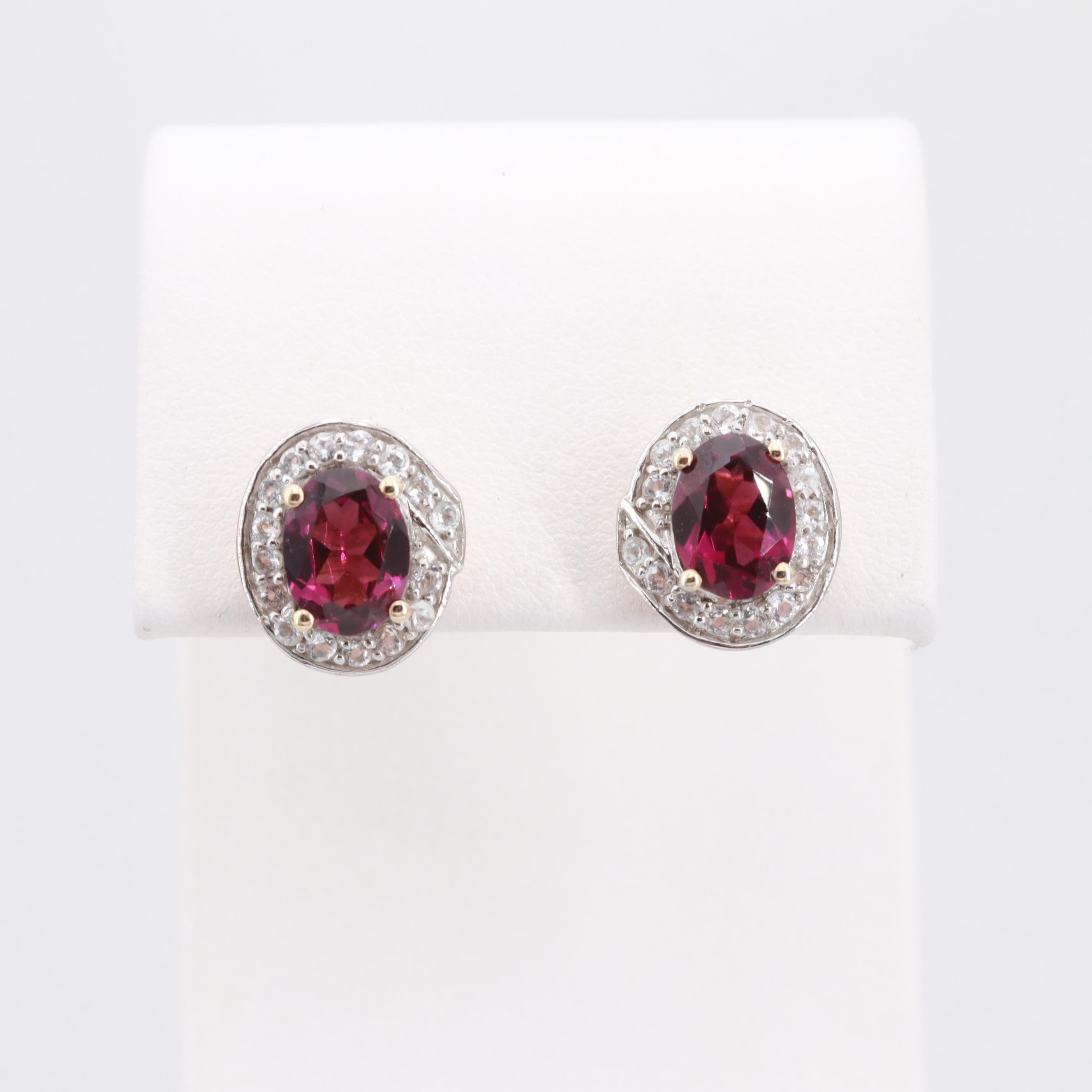 10K Yellow Gold Rhodolite Garnet and Synthetic Spinel Earrings