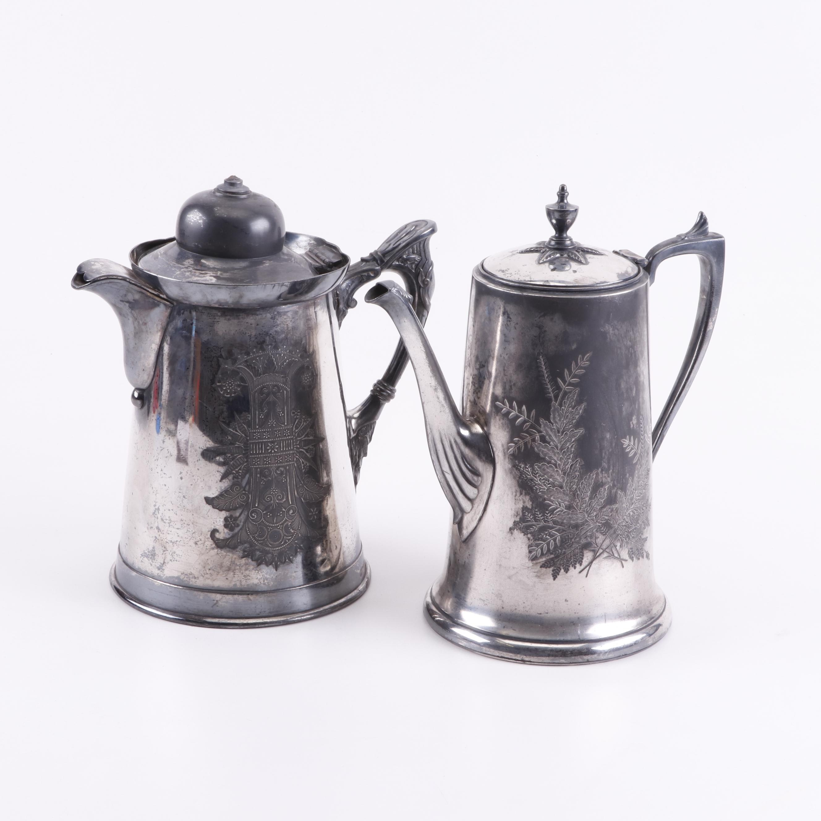 Simpson, Hall, Miller & Co. Silver Plate Coffee Pots, Late 19th Century