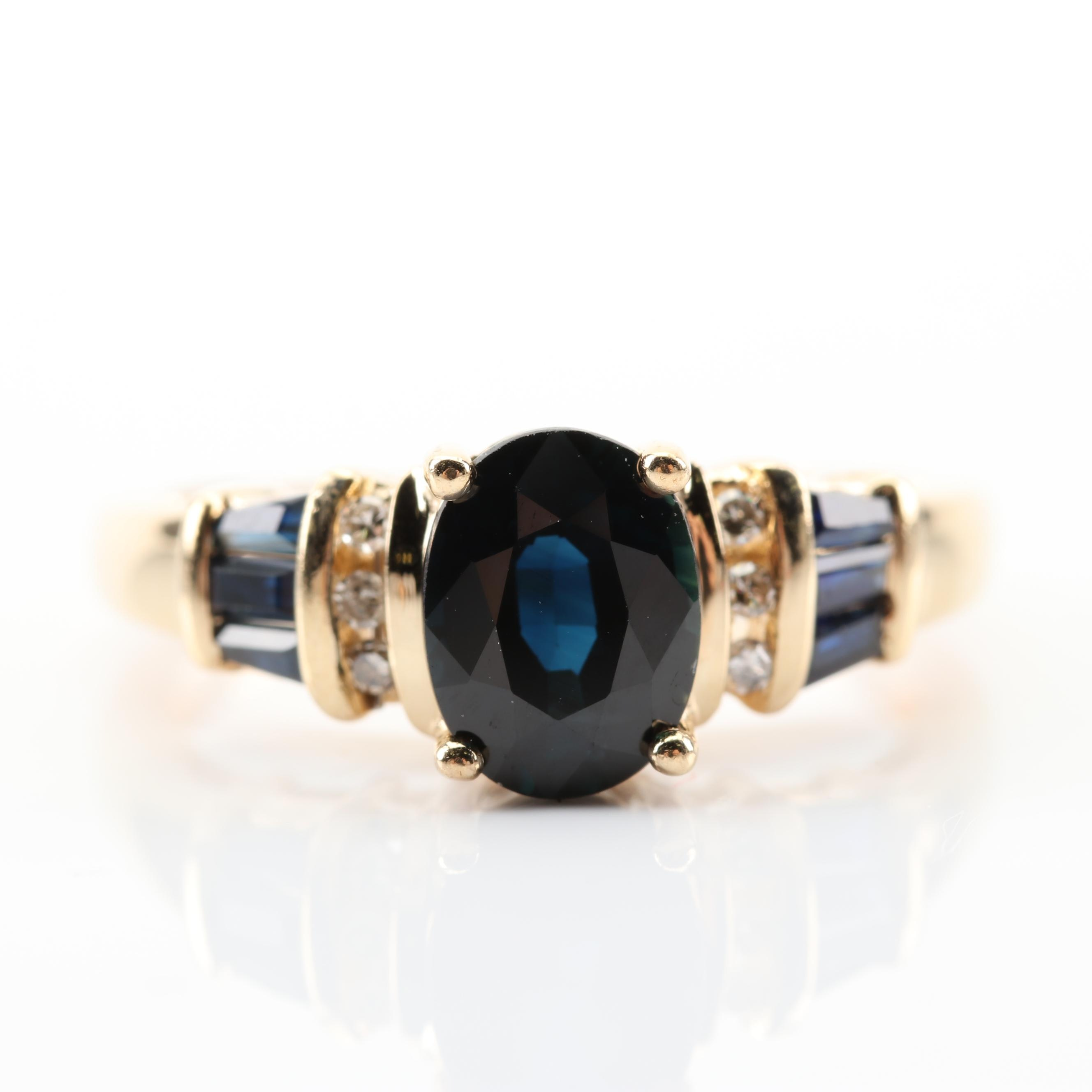 14K Yellow Gold 2.02 CTW Sapphire and Diamond Ring