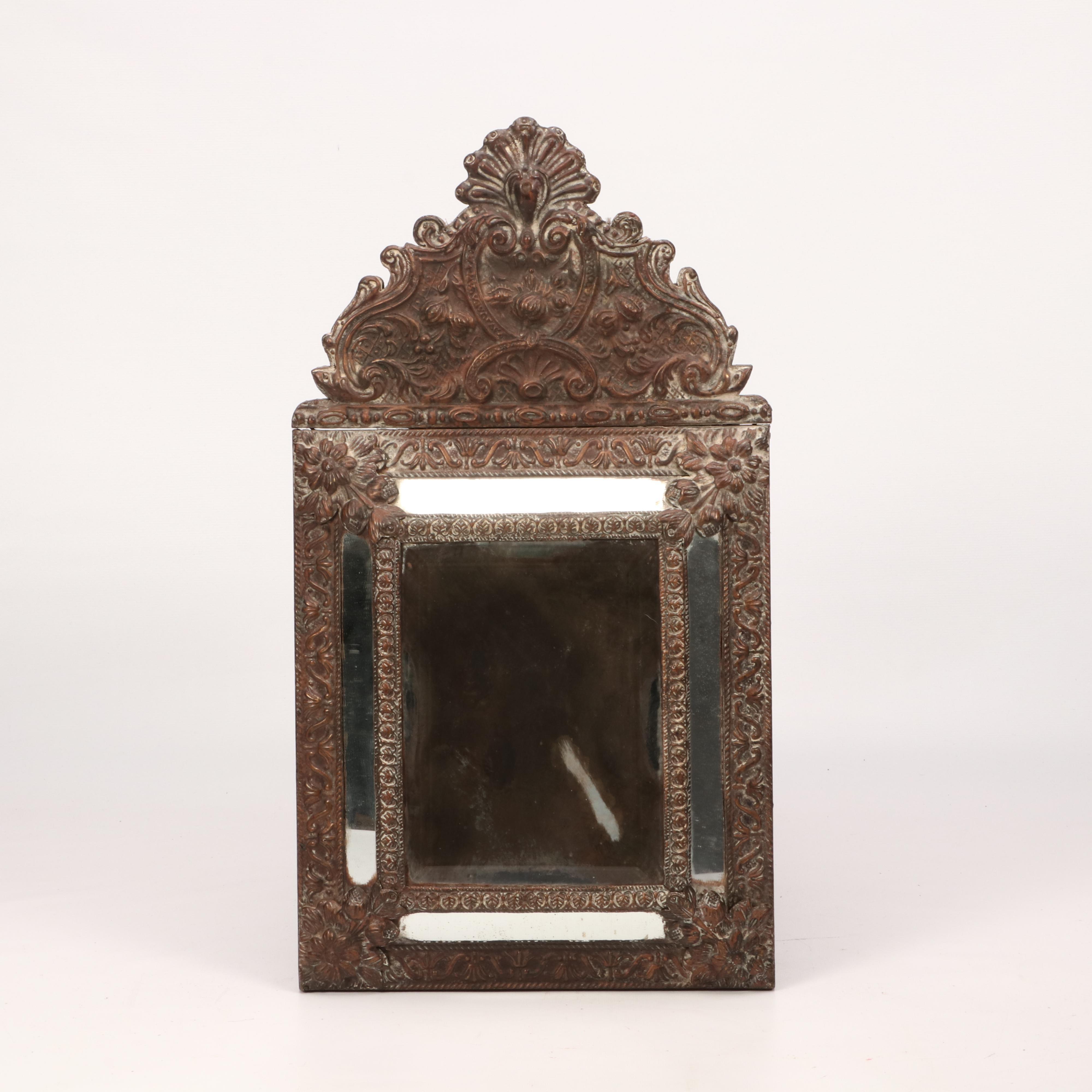 Repoussé Brass Mirror in Dutch Baroque Style