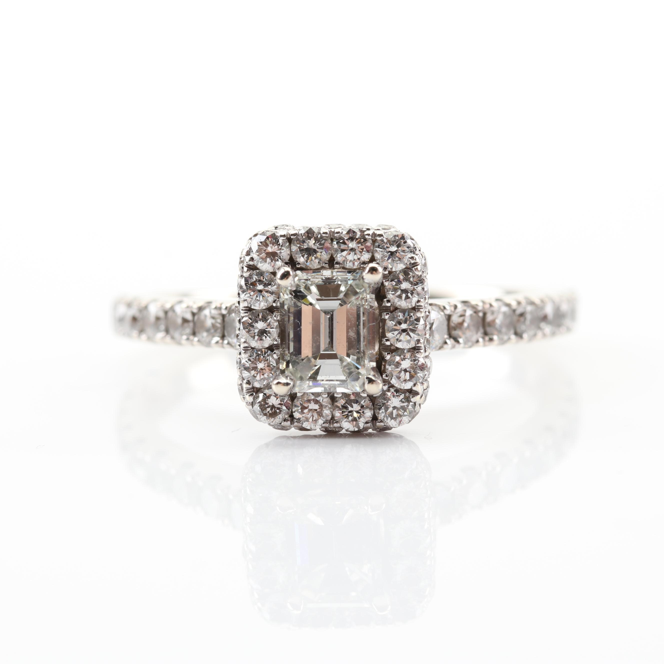 Neil Lane 14K White Gold Emerald Cut Halo Diamond Ring
