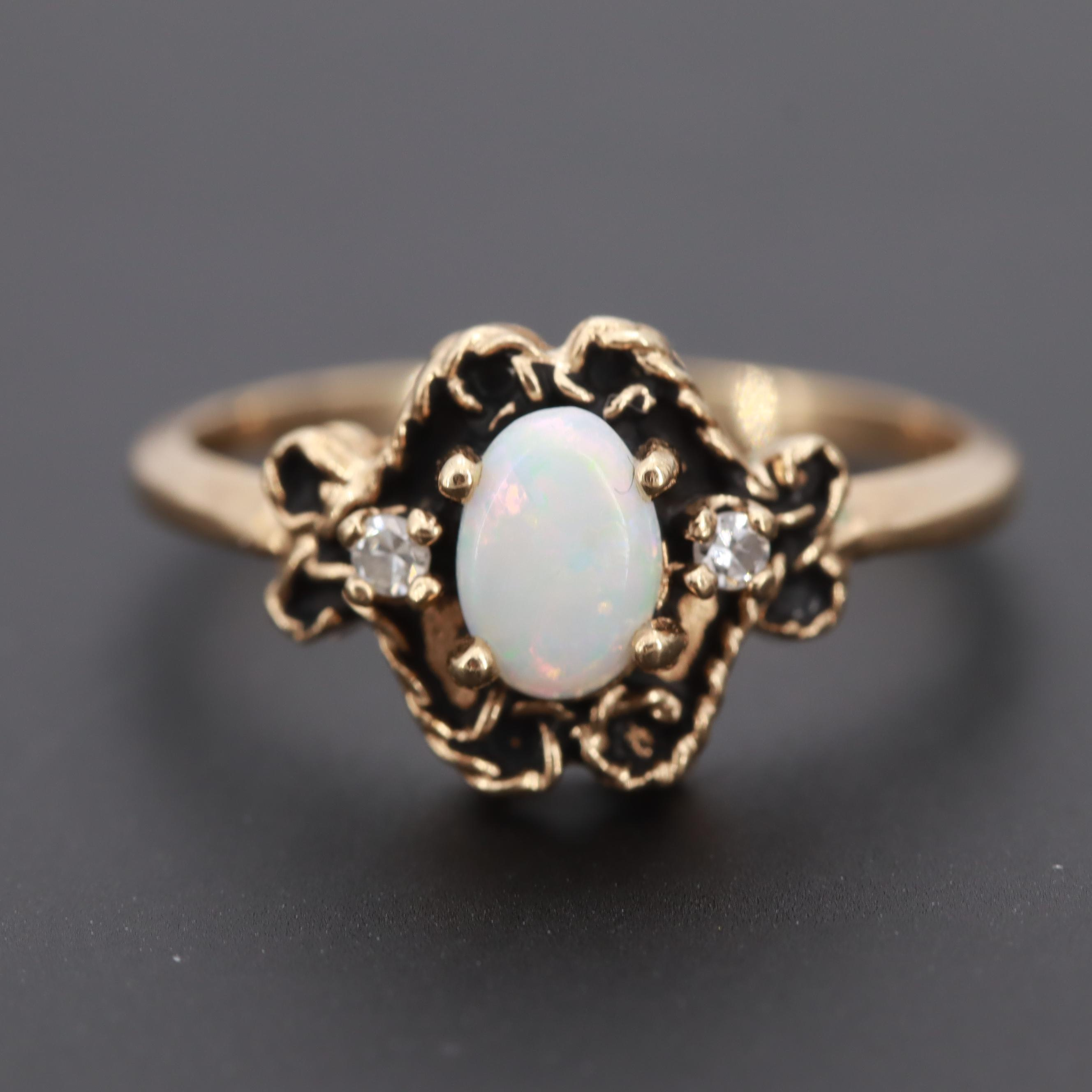"Vintage Basco Jewelers ""Trubrite"" 10K Yellow Gold Opal Ring"