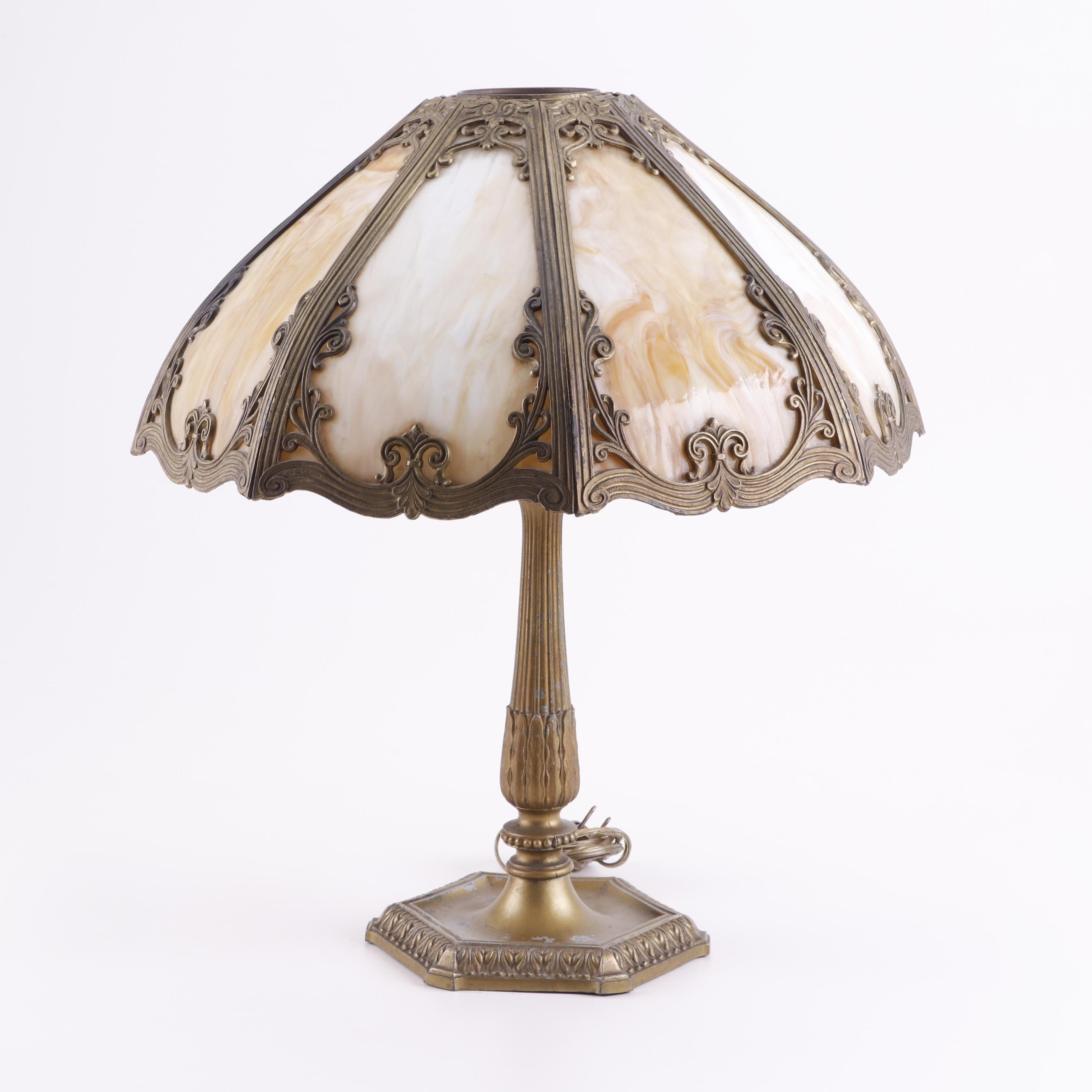 Cast Metal Table Lamp with Slag Glass and Overlay Shade, Early 20th Century