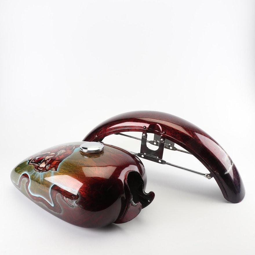Custom Painted Split Motorcycle Gas Tank and Fender