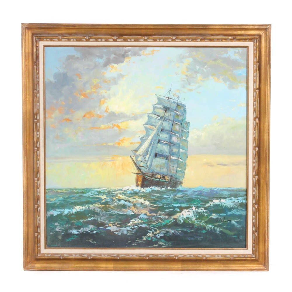 Wilson Oil on Canvas Nautical Painting