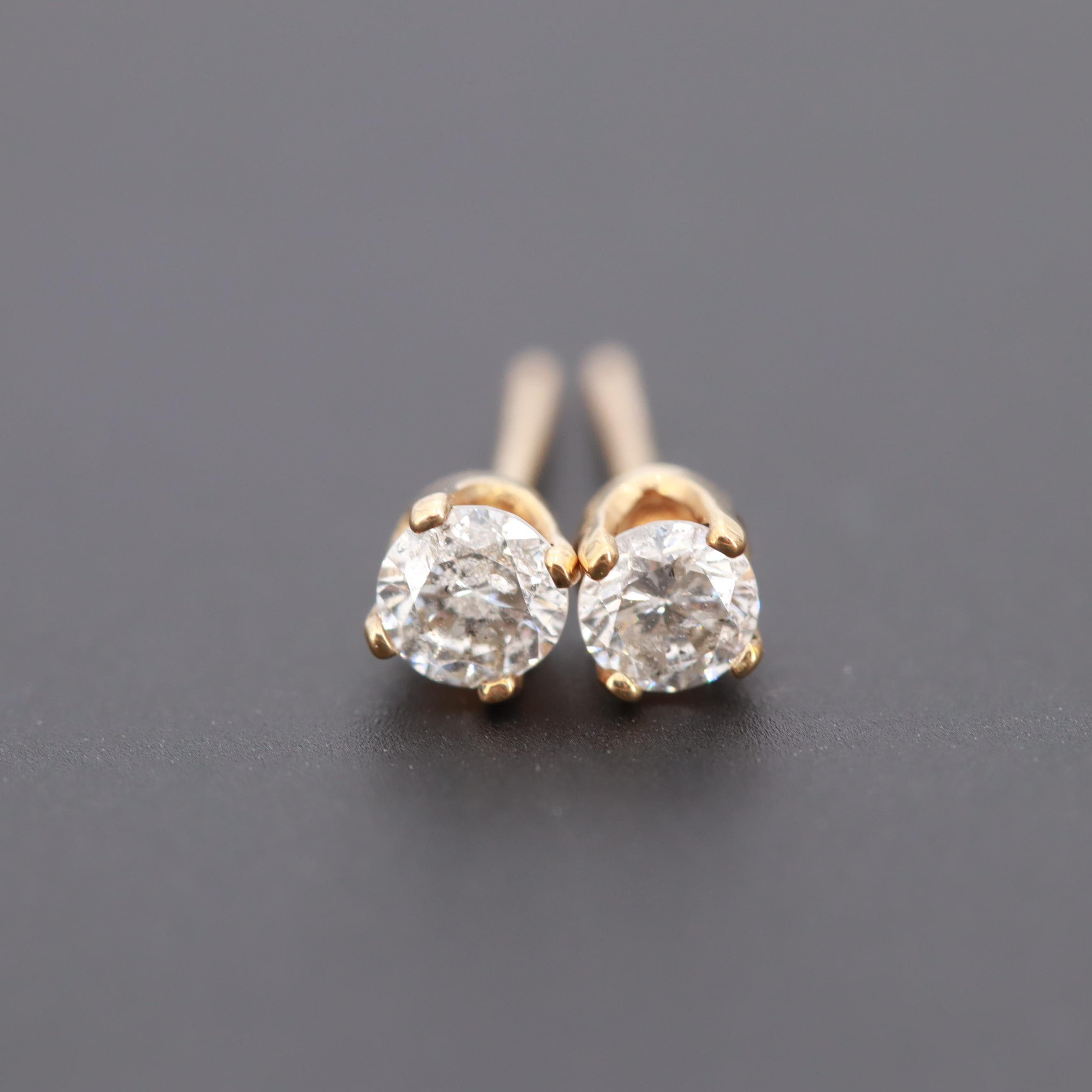 10K Yellow Gold Diamond Stud Earrings