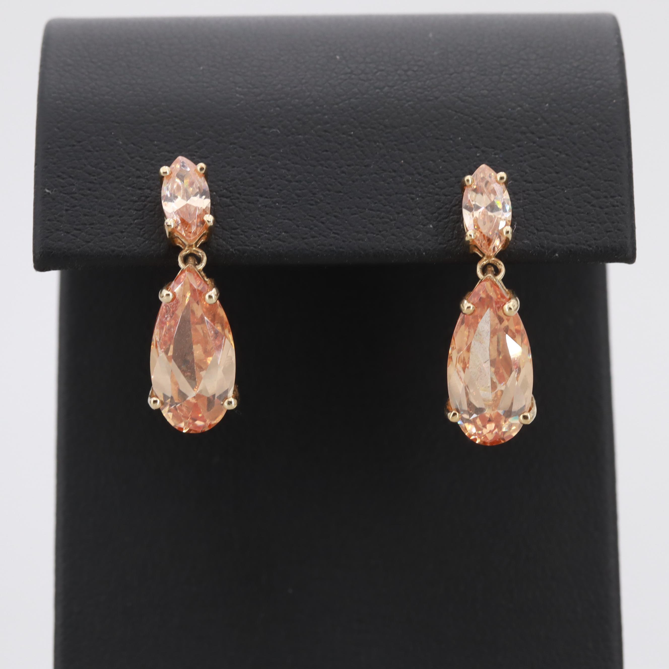 10K Yellow Gold Cubic Zirconia Dangle Earrings